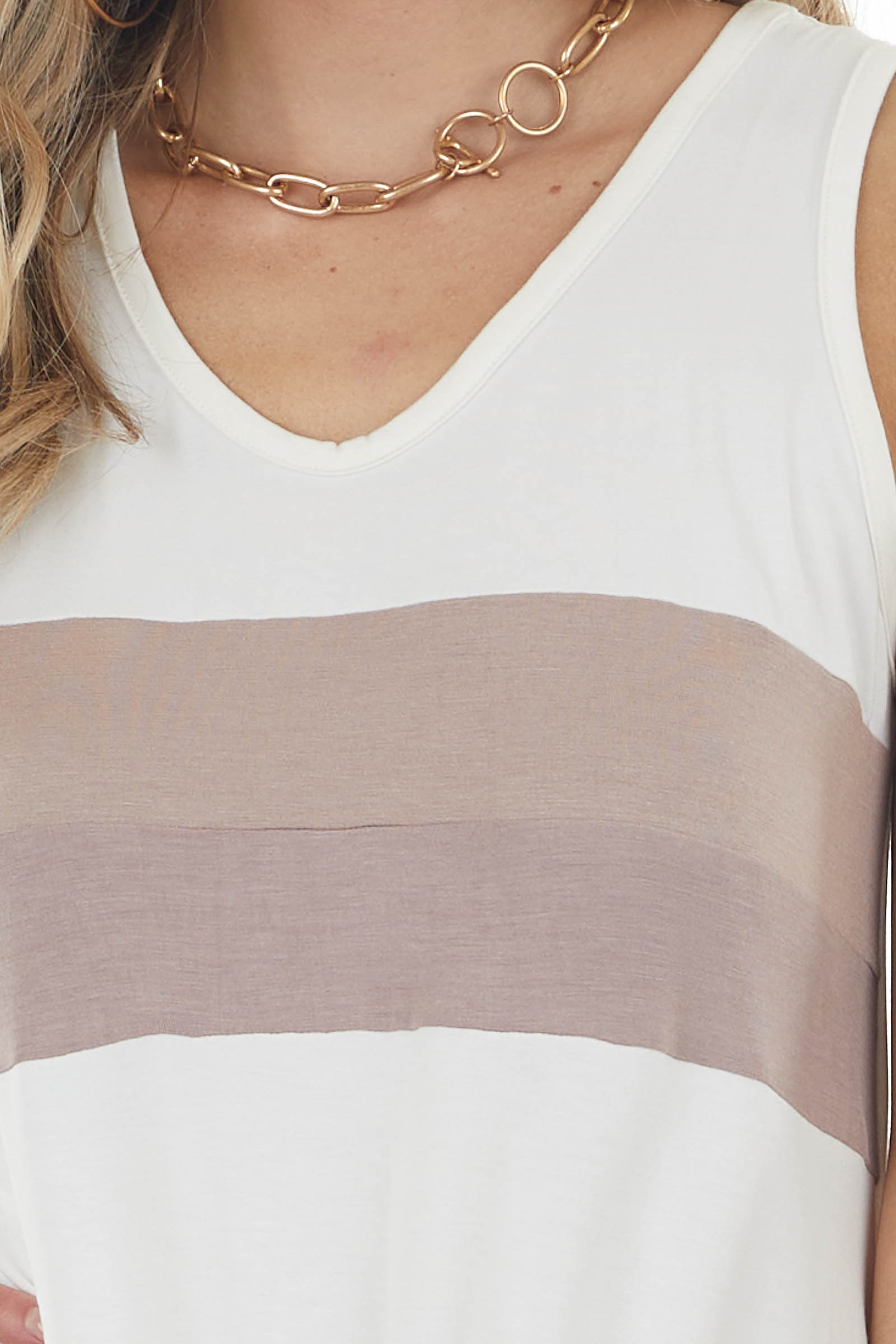 Ivory Colorblock Sleeveless Top with Front Tie Detail