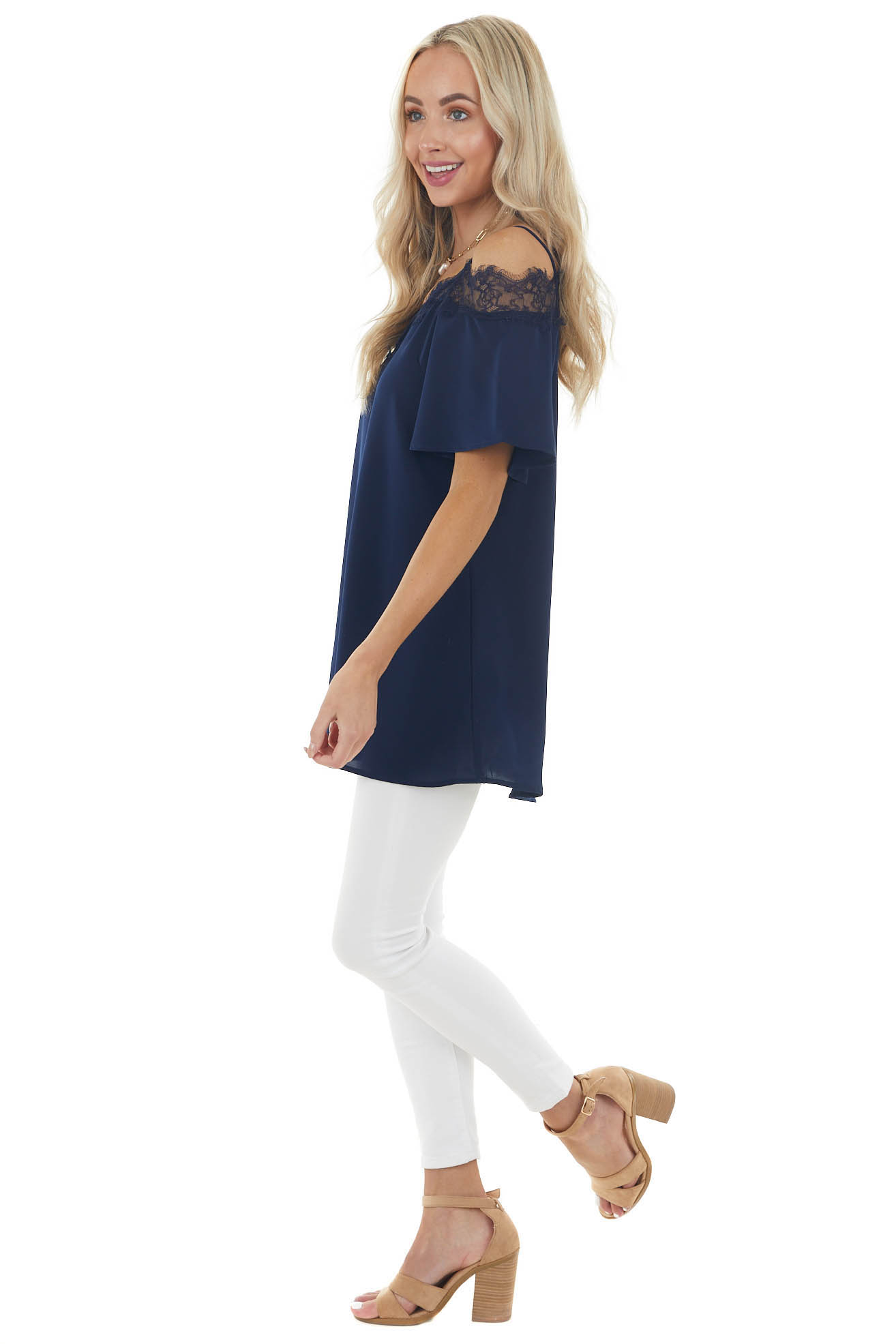 Navy Blue Cold Shoulder Short Sleeve Blouse with Lace