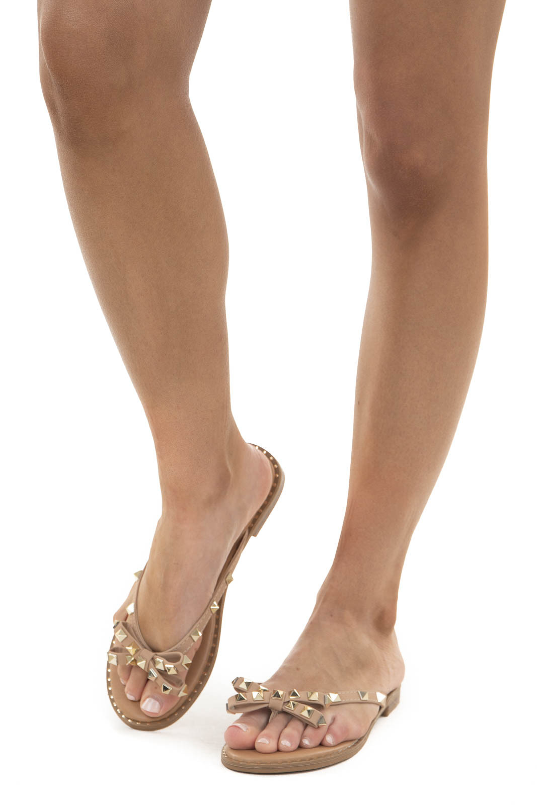 Latte Low Heel Thong Sandals with Bow and Gold Stud Details