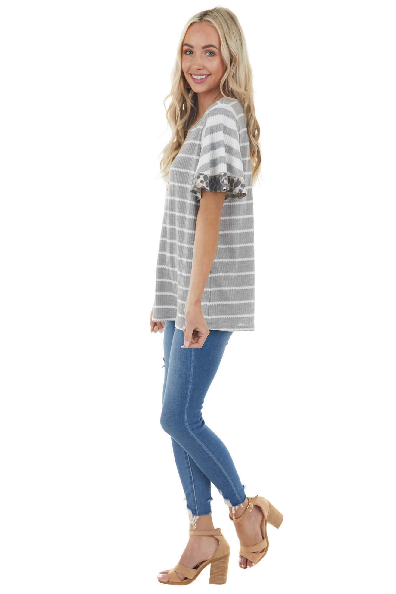 Steel Grey Striped Waffle Knit Top with Leopard Print Detail