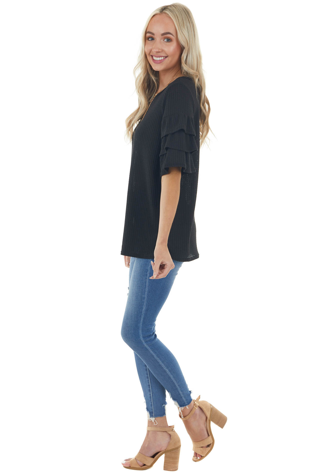 Black Half Sleeve Waffle Knit with Flare Details