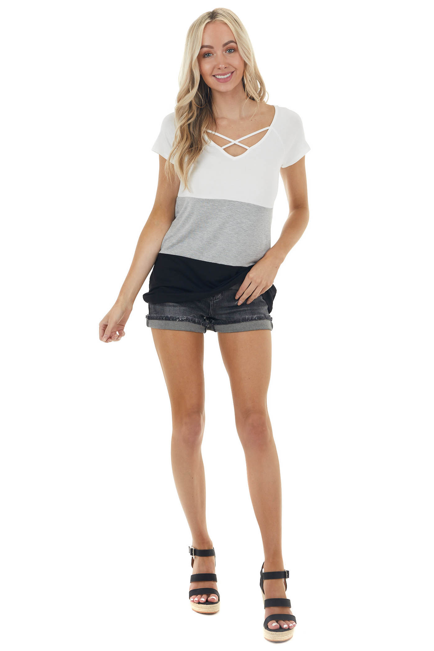 Heather Grey Colorblock Short Sleeve Top with Caged Detail