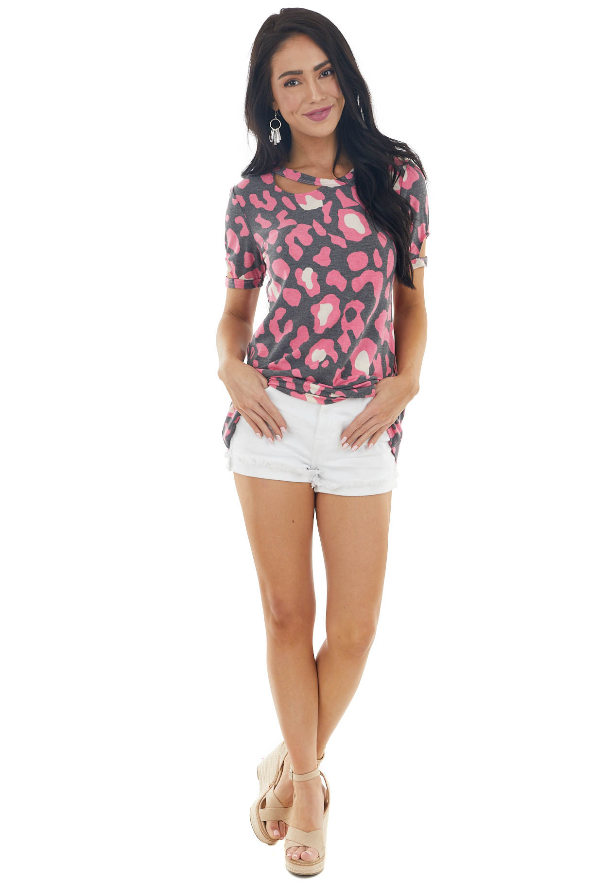 Pink and Charcoal Leopard Print Knit Tee with Cut Out Sleeve