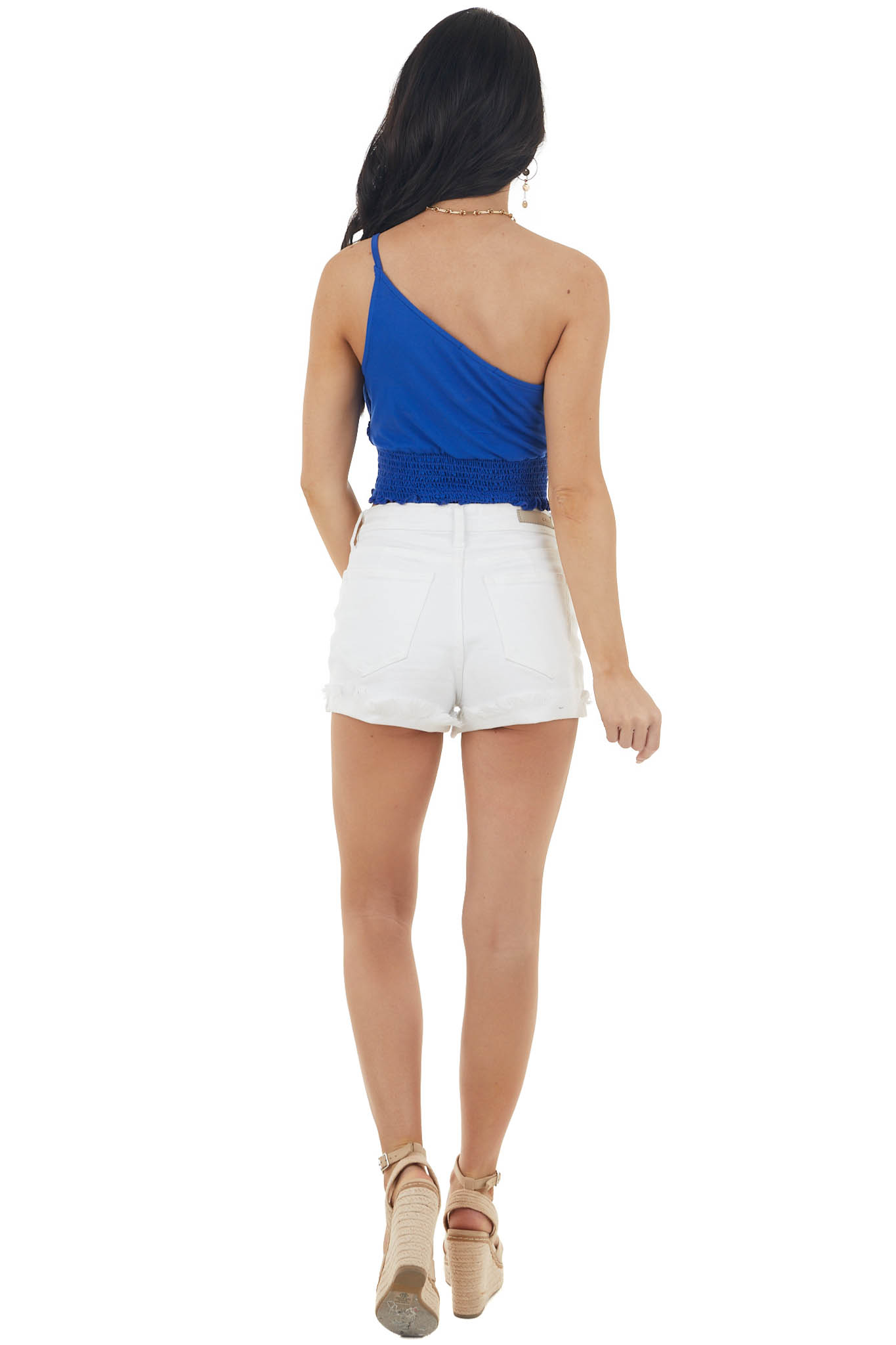 Royal Blue One Shoulder Knit Crop Top with Smocked Waist