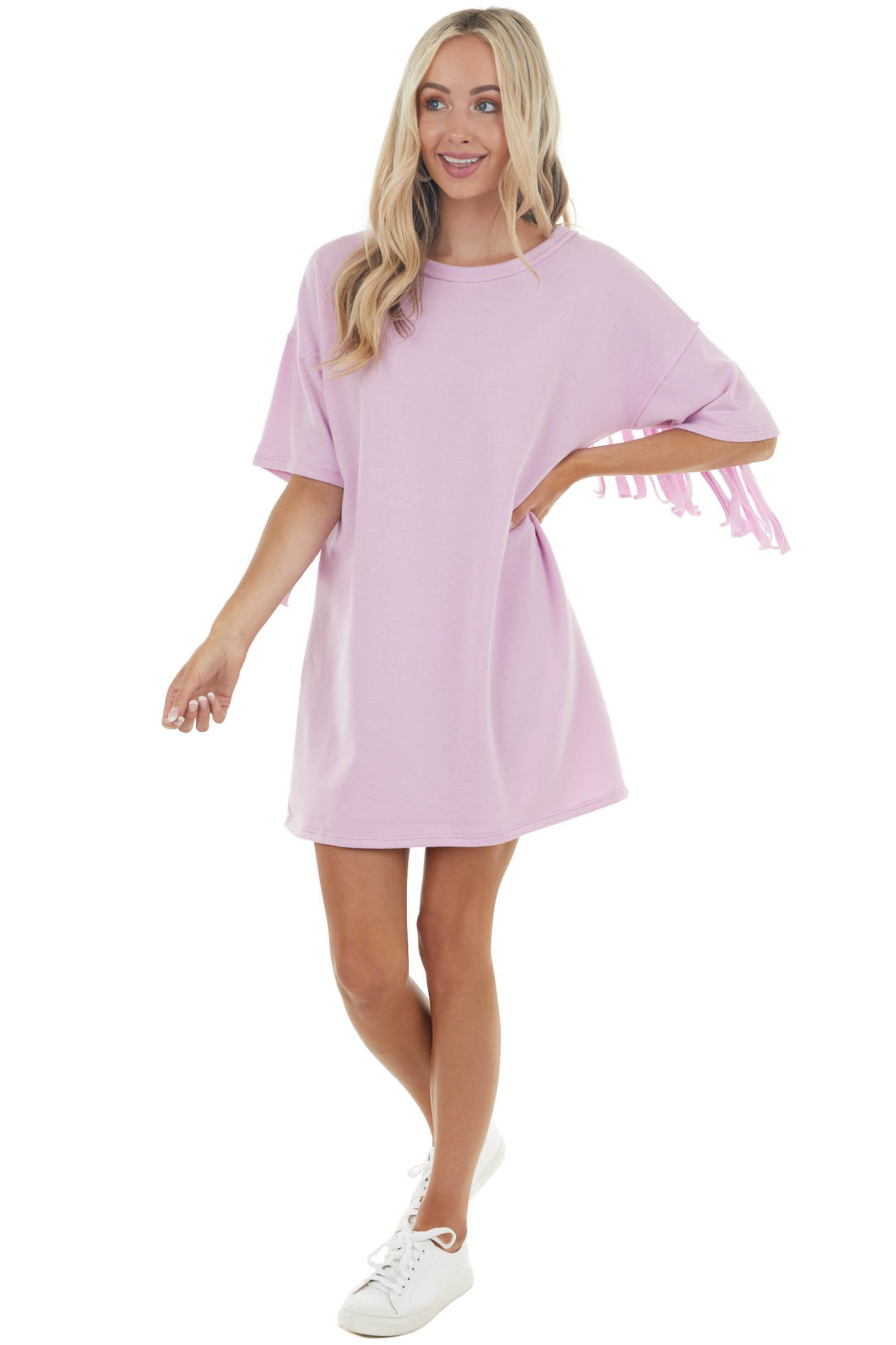 Pastel Orchid Short Sleeve Mini Dress with Fringe Details