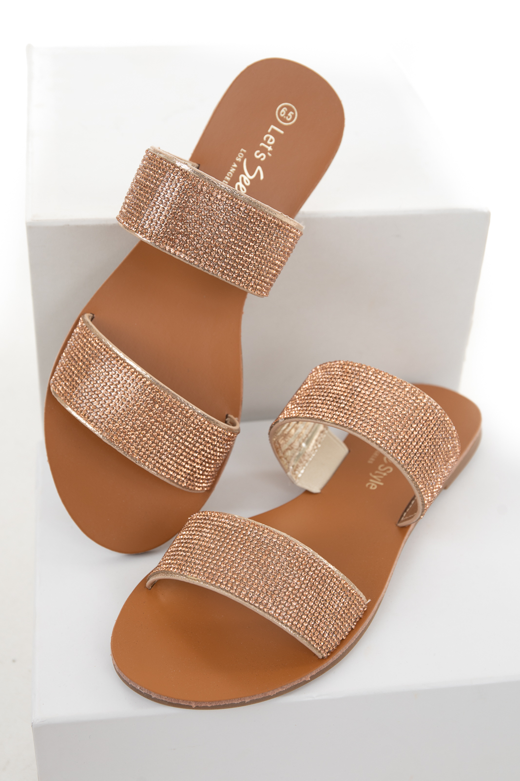 Cognac Open Toe Sandals with Rose Gold Rhinestone Straps