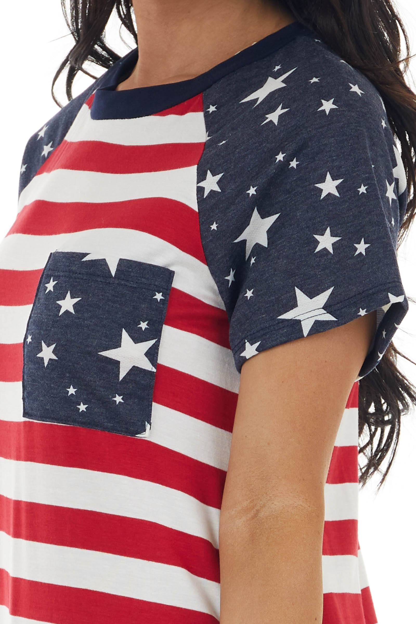 Ruby American Flag Print Short Sleeve Top with Front Pocket