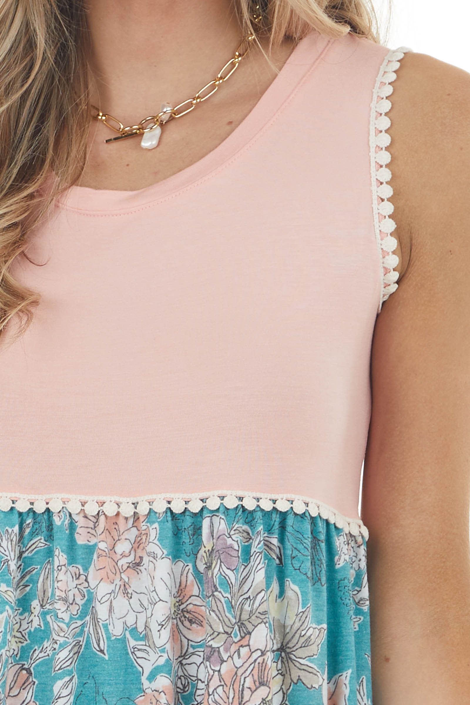 Peach and Floral Print Sleeveless Knit Top with Lace Trim