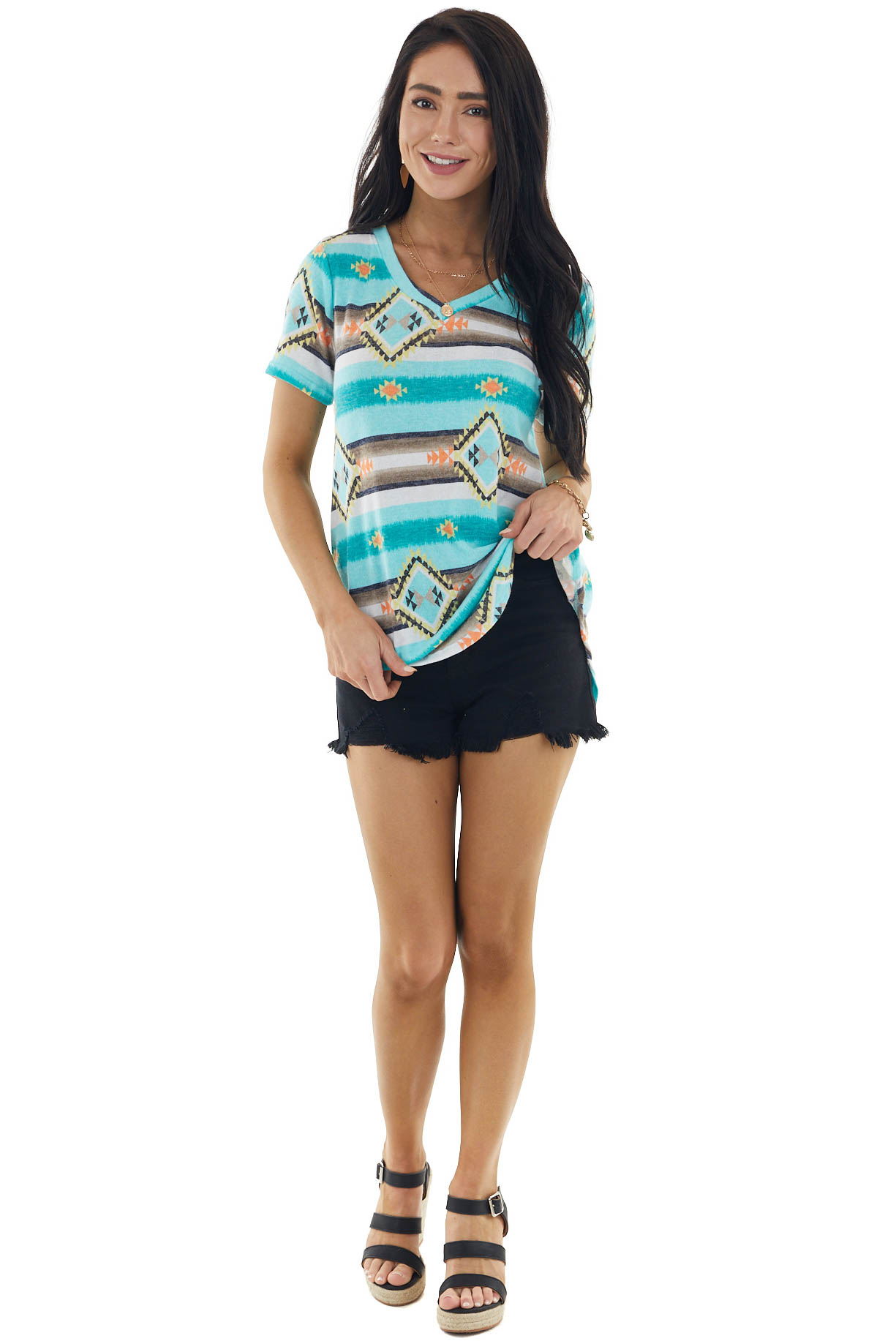 Turquoise Aztec Print Short Sleeve Knit Top with V Neck