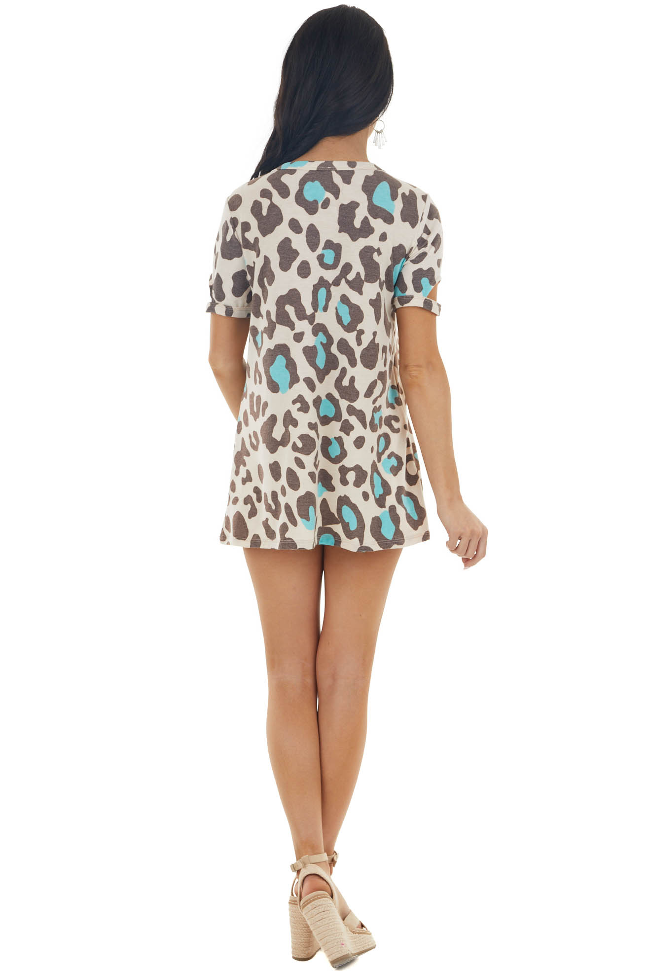 Champagne and Coffee Leopard Print Tee with Sleeve Cut Outs