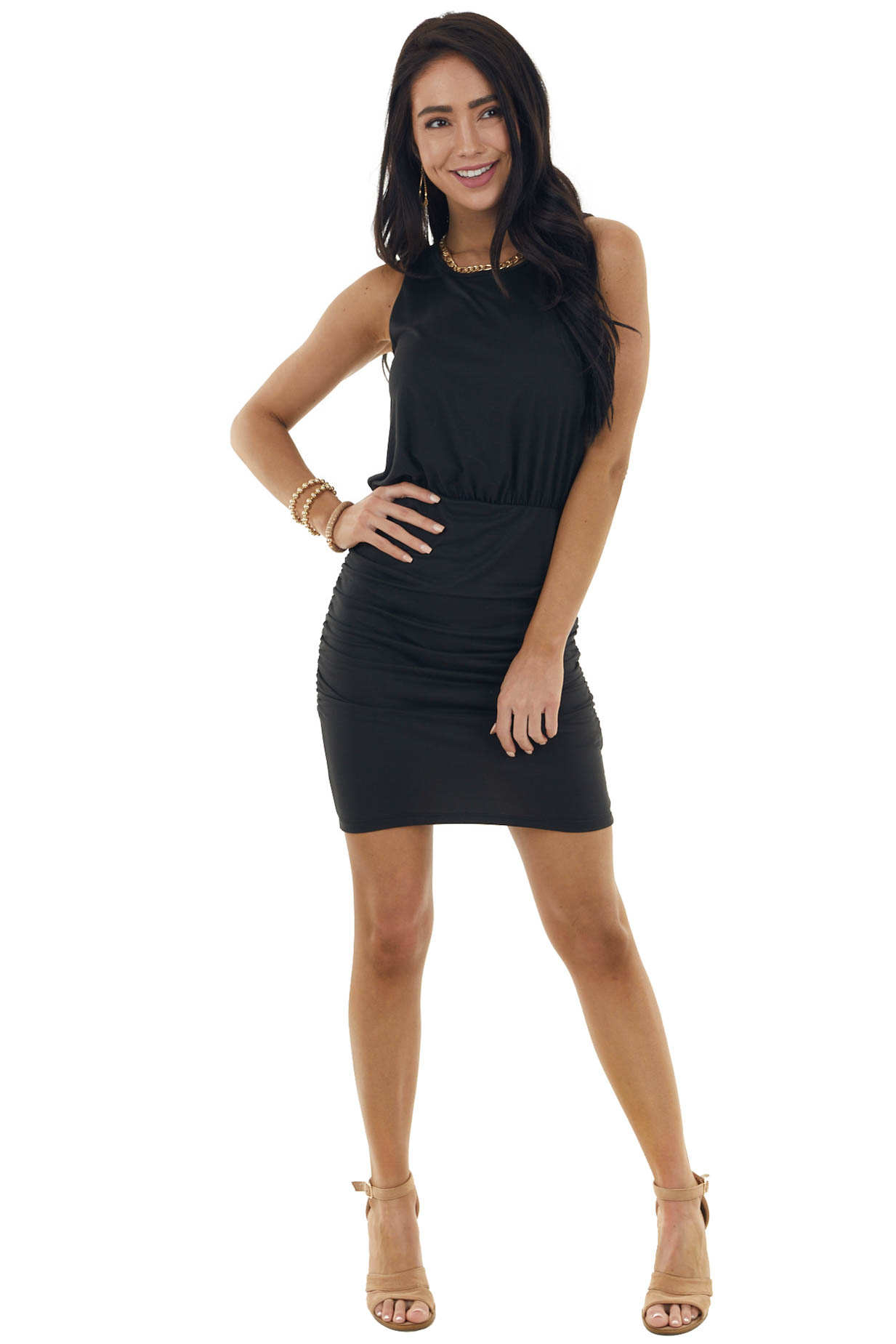 Black Sleeveless Short Knit Dress with Side Ruching Details