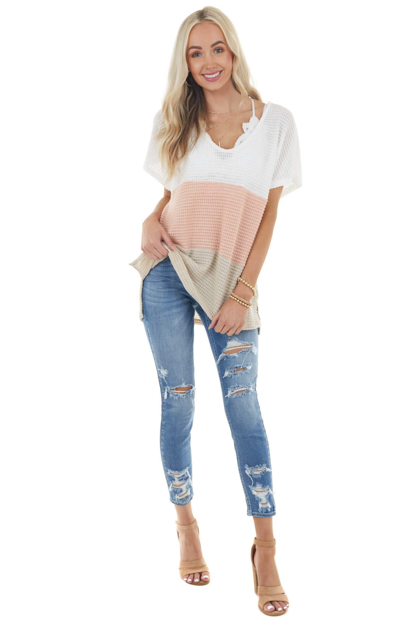 Light Coral and Latte Colorblock Stretchy Waffle Knit Top