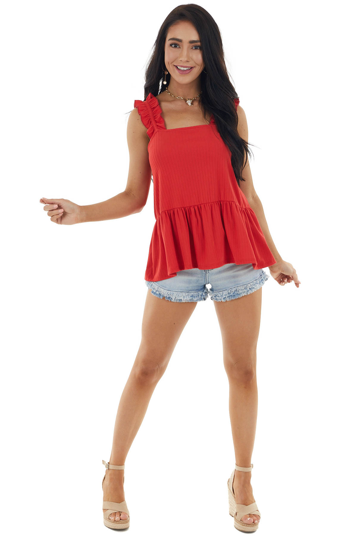 Lipstick Red Drop Waist Ribbed Tank Top with Ruffle Detail