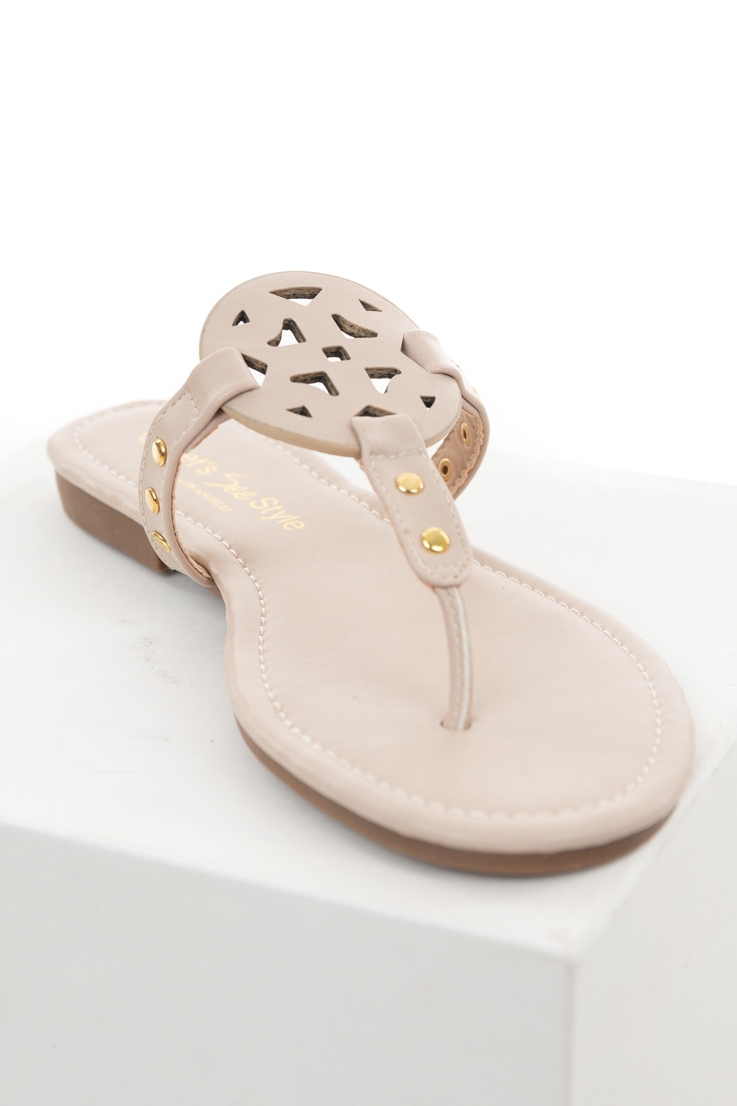 Oatmeal Thong Sandals with Gold Studs and Laser Cutouts