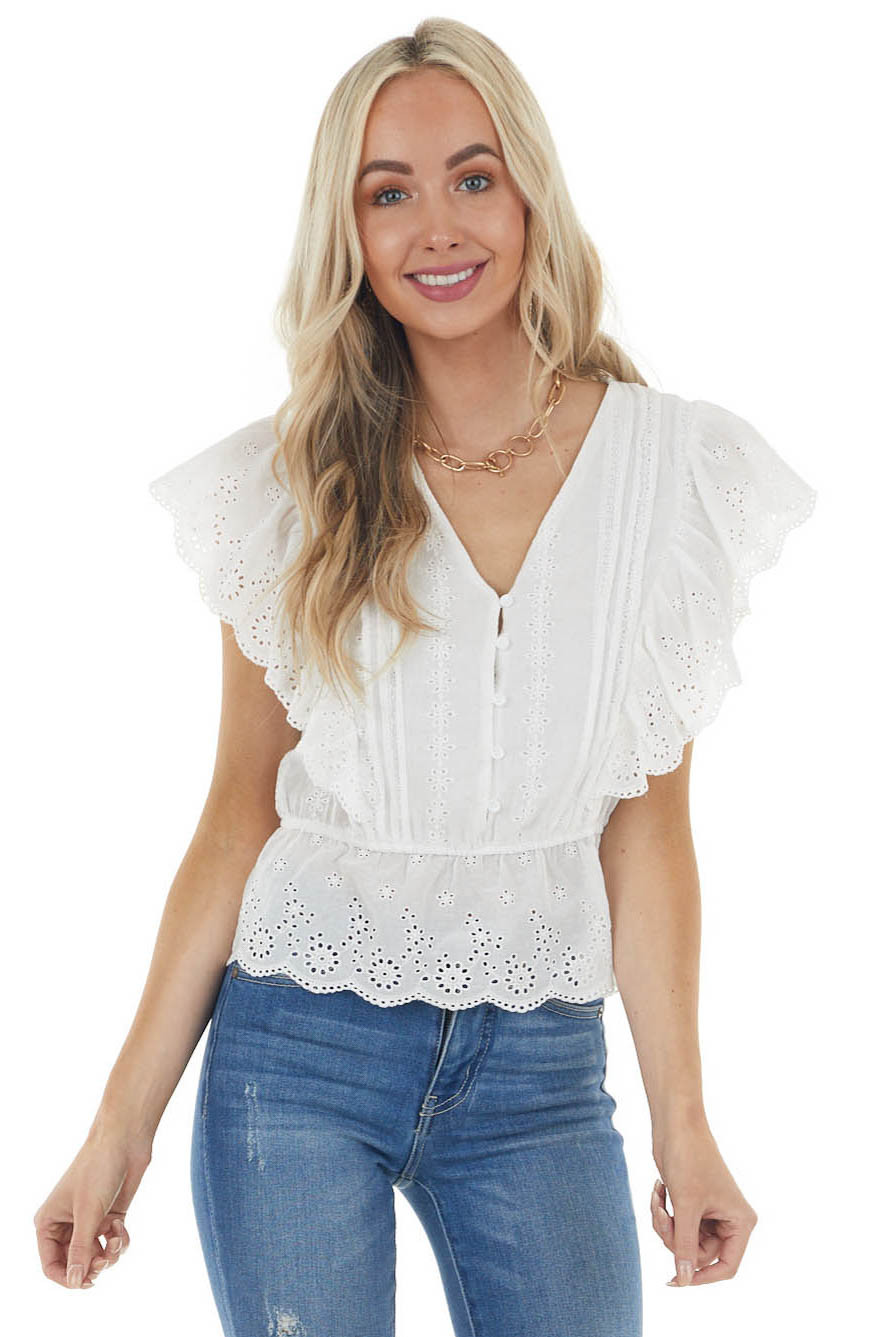 White Short Sleeve Top with Buttons and Floral Eyelet Lace