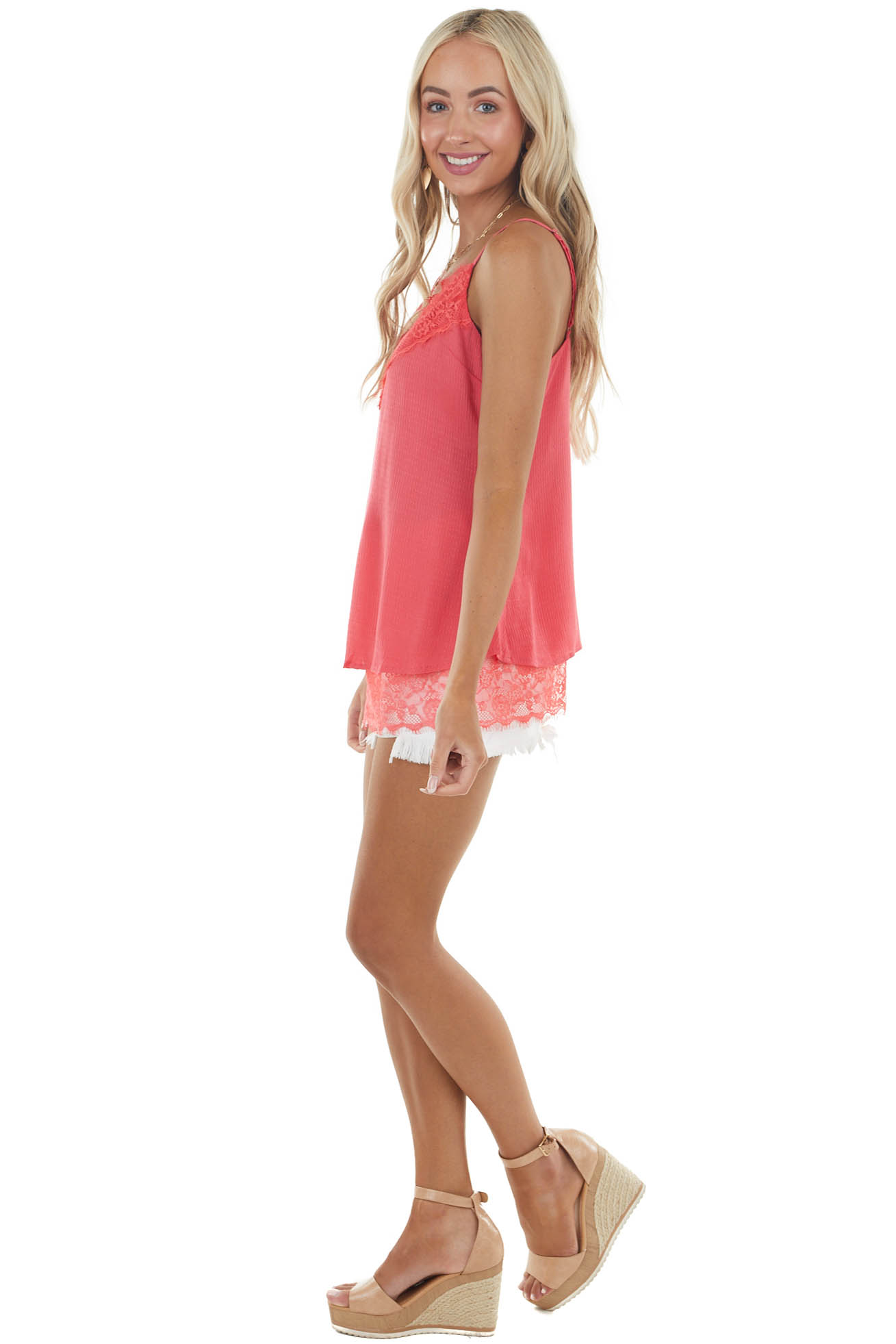 Hot Pink Tank Top with Lace Detail and Adjustable Straps