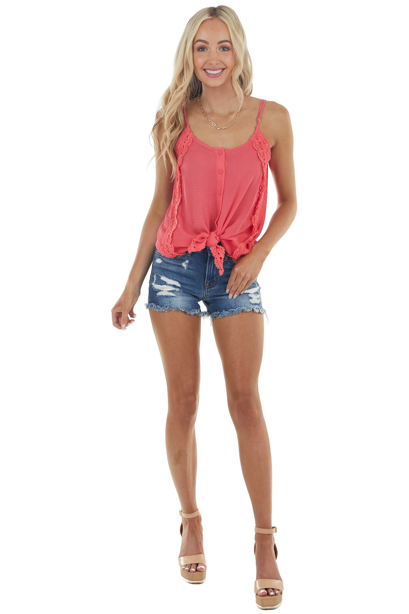 Hot Pink Button Down Tank Top with Crochet Details