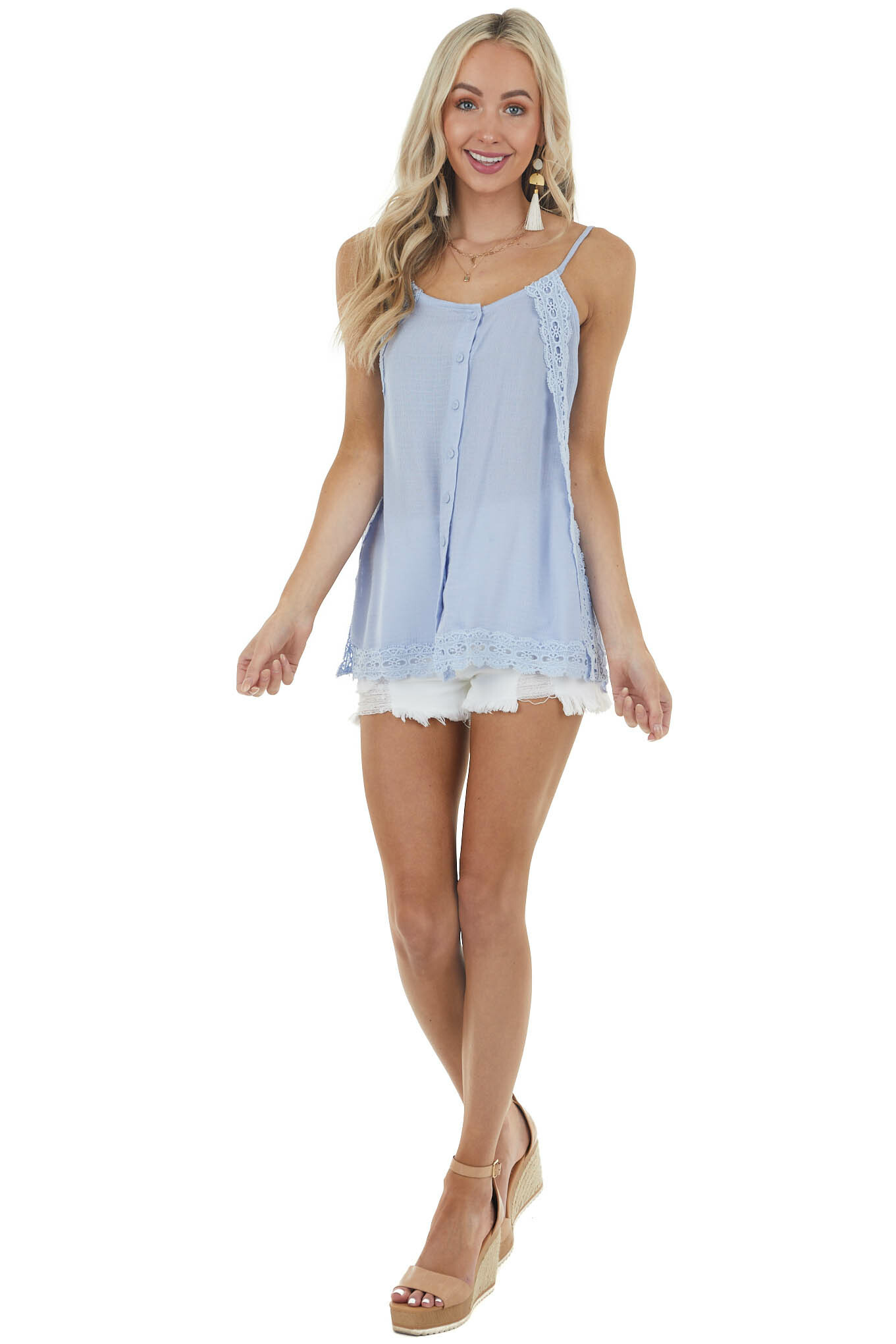 Powder Blue Button Down Tank Top with Crochet Details