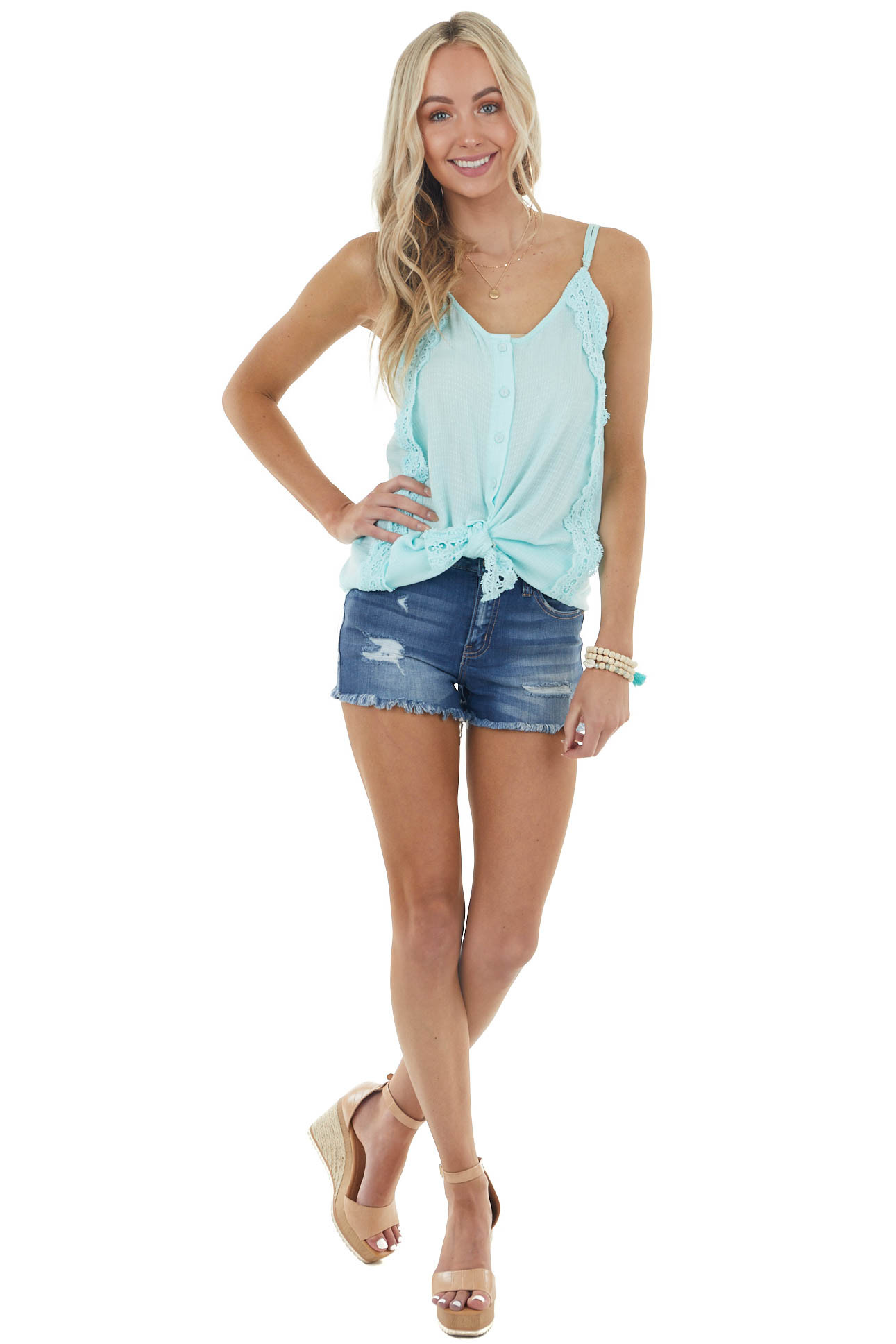 Light Turquoise Button Down Tank Top with Crochet Details