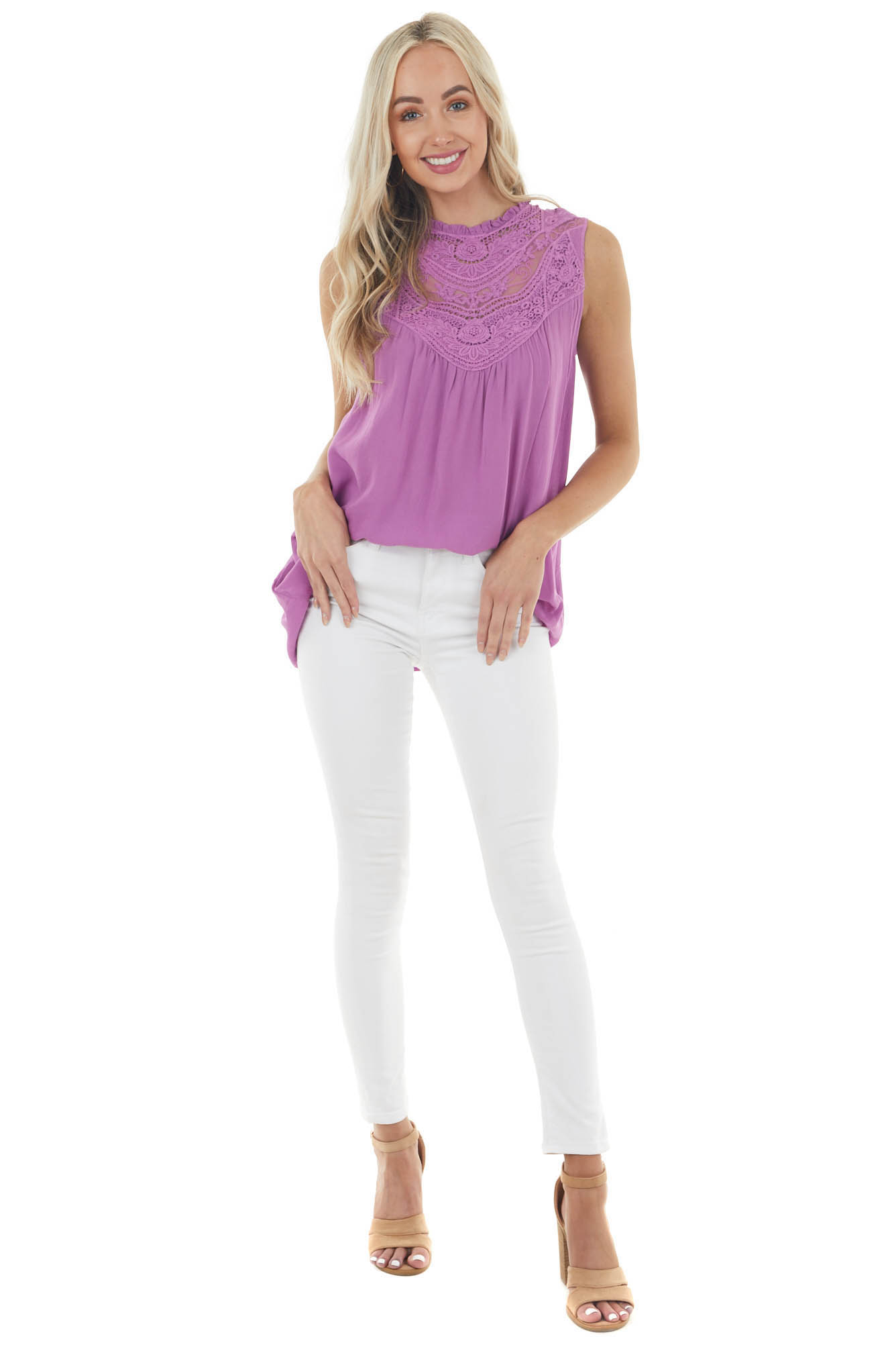 Orchid Sleeveless Top with Crocheted Neckline Detail