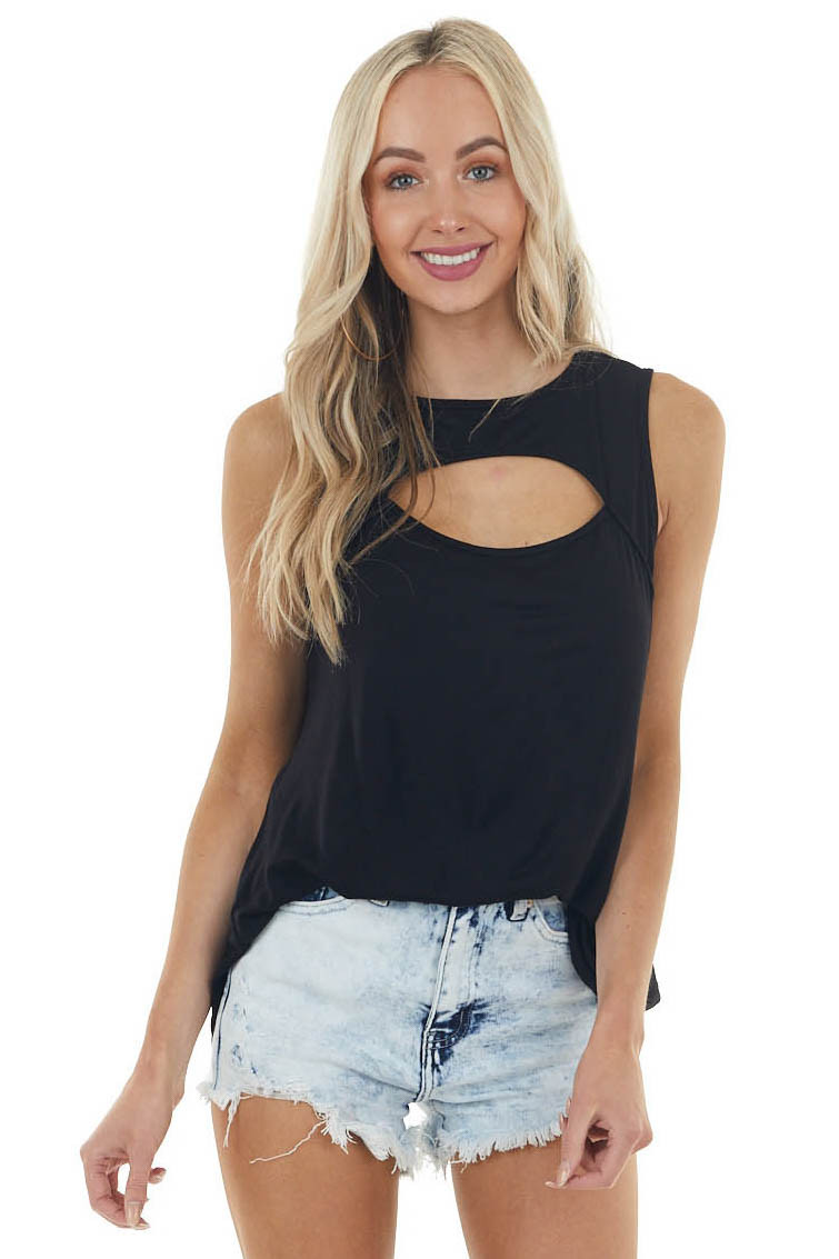 Black Sleeveless Stretchy Knit Top with Cut Out Detail