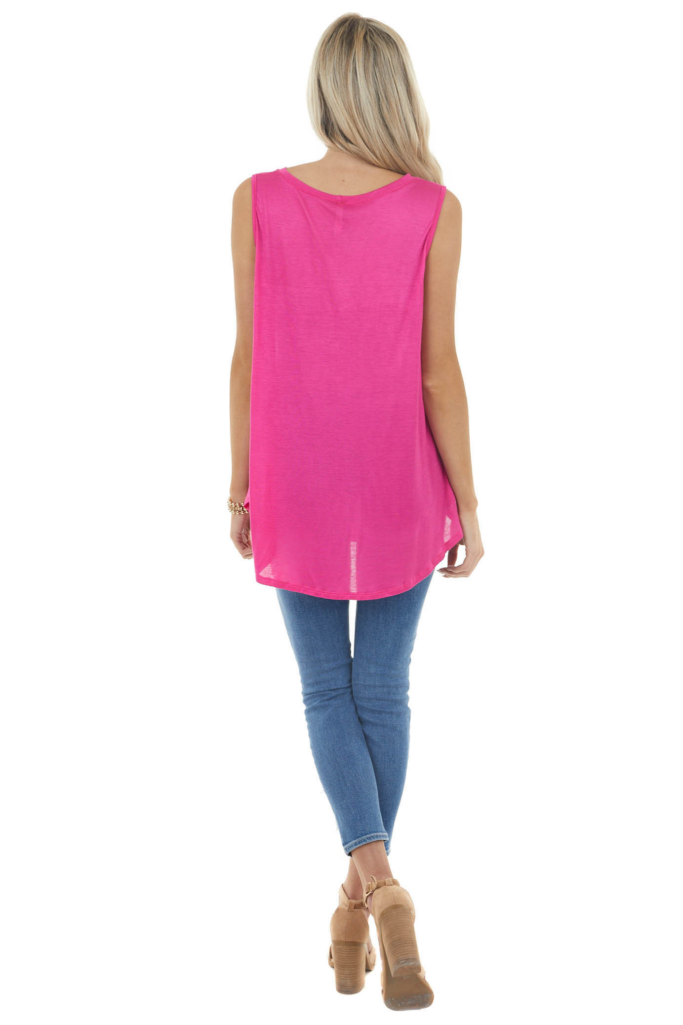 Magenta Sleeveless Stretchy Knit Top with Cut Out Detail
