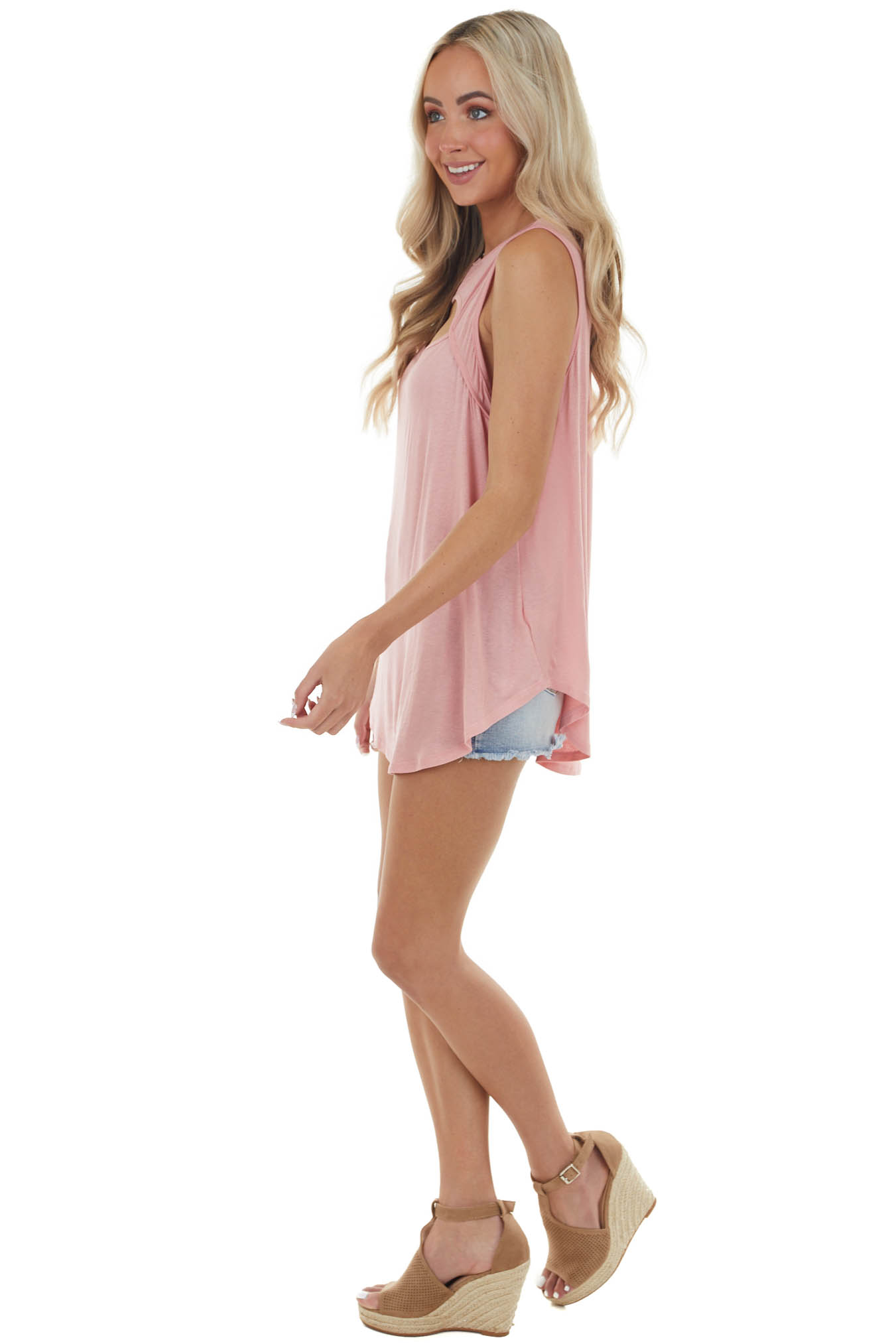 Baby Pink Sleeveless Stretchy Knit Top with Cut Out Detail