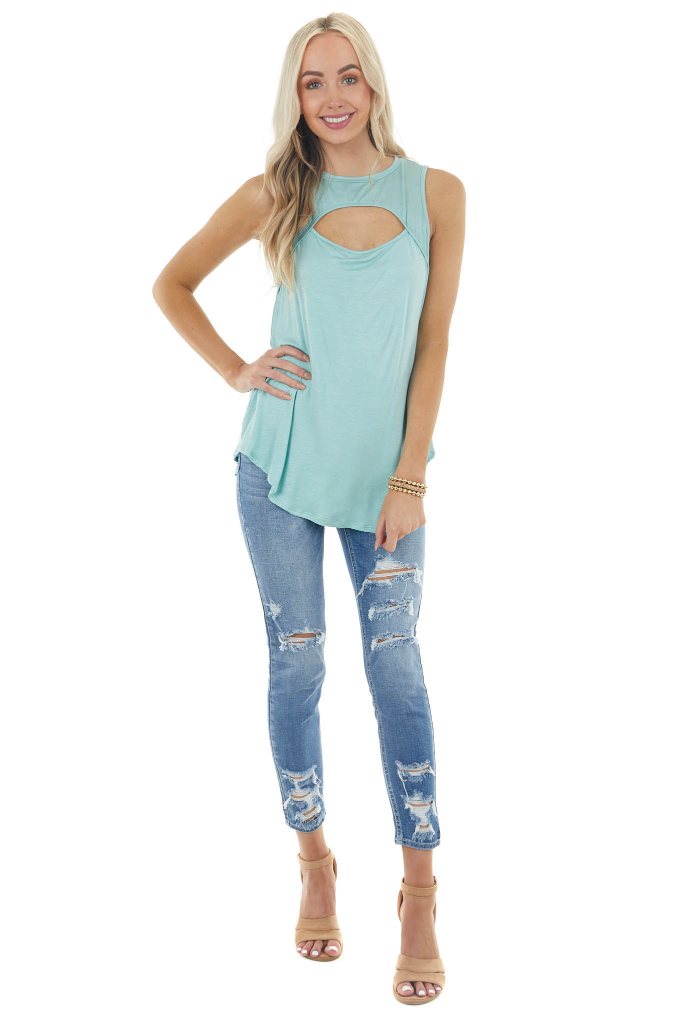 Seafoam Sleeveless Stretchy Knit Top with Cut Out Detail