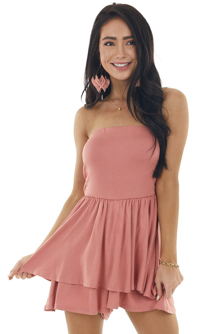 Salmon Strapless Stretchy Knit Romper with Tiered Detail