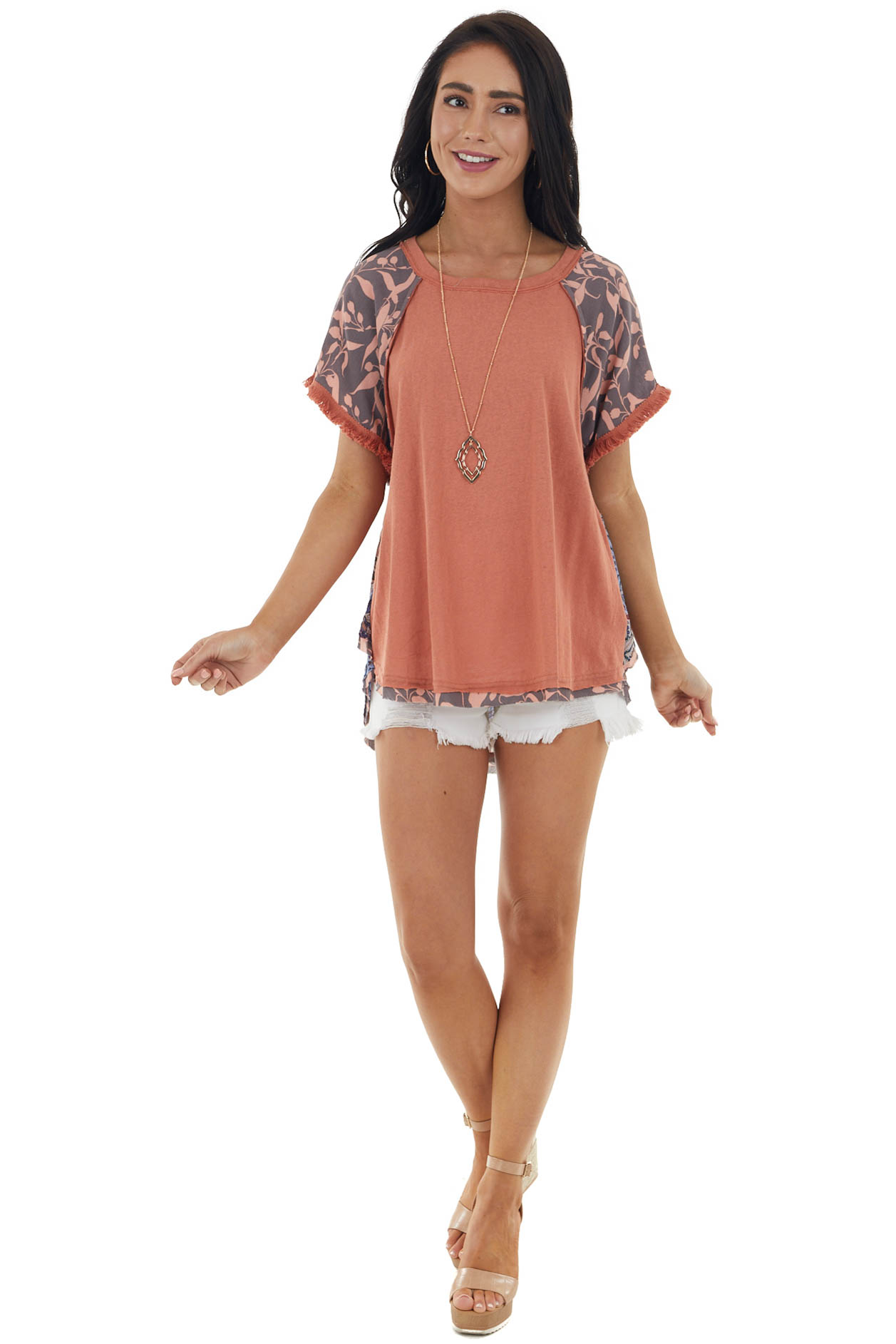 Marmalade Multiprint Short Sleeve Top with Fray Details