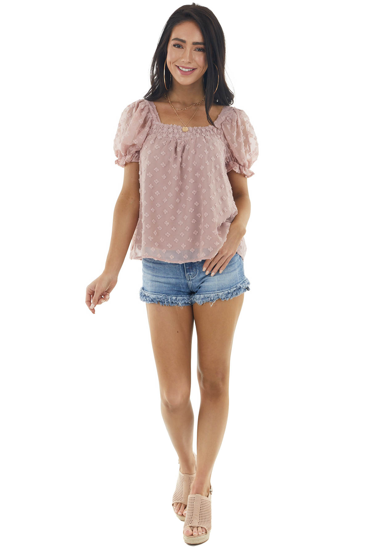 Rose Taupe Swiss Dot Short Puff Sleeve Top with Smocked Neck