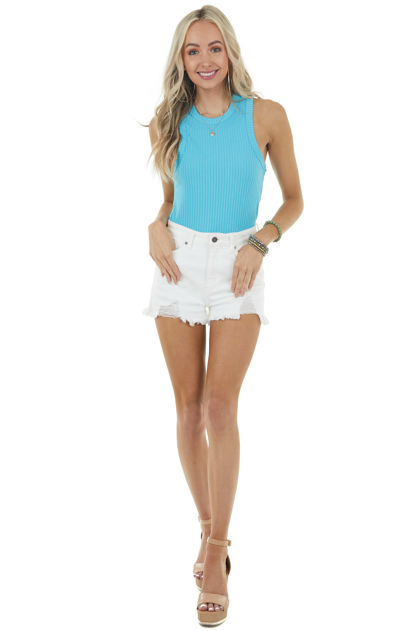 Teal Sleeveless Ribbed Stretchy Halter Knit Tank Top