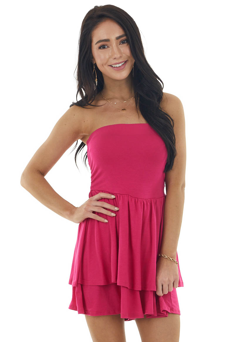 Magenta Strapless Stretchy Knit Romper with Tiered Detail