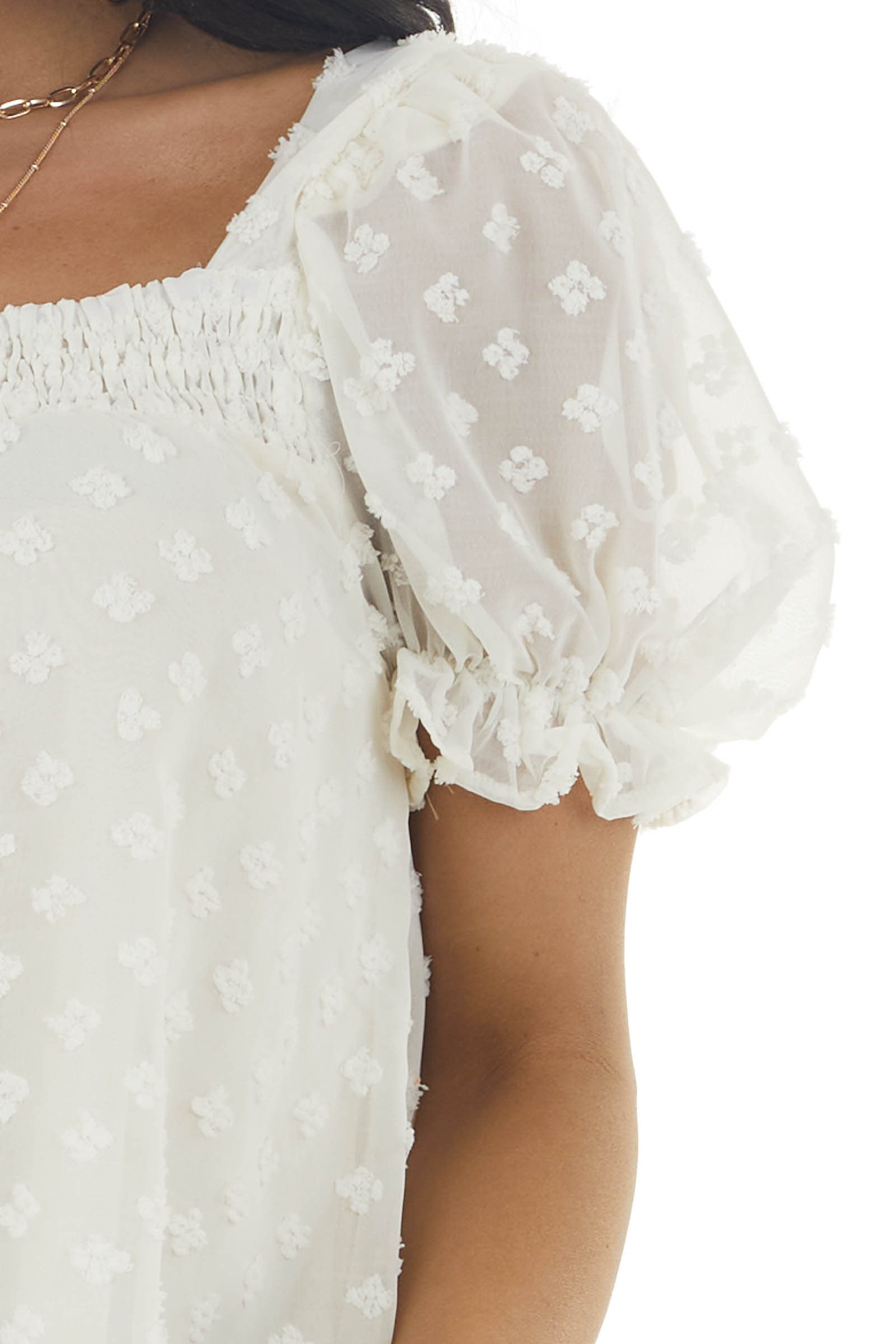 Cream Swiss Dot Short Puff Sleeve Top with Smocked Neck