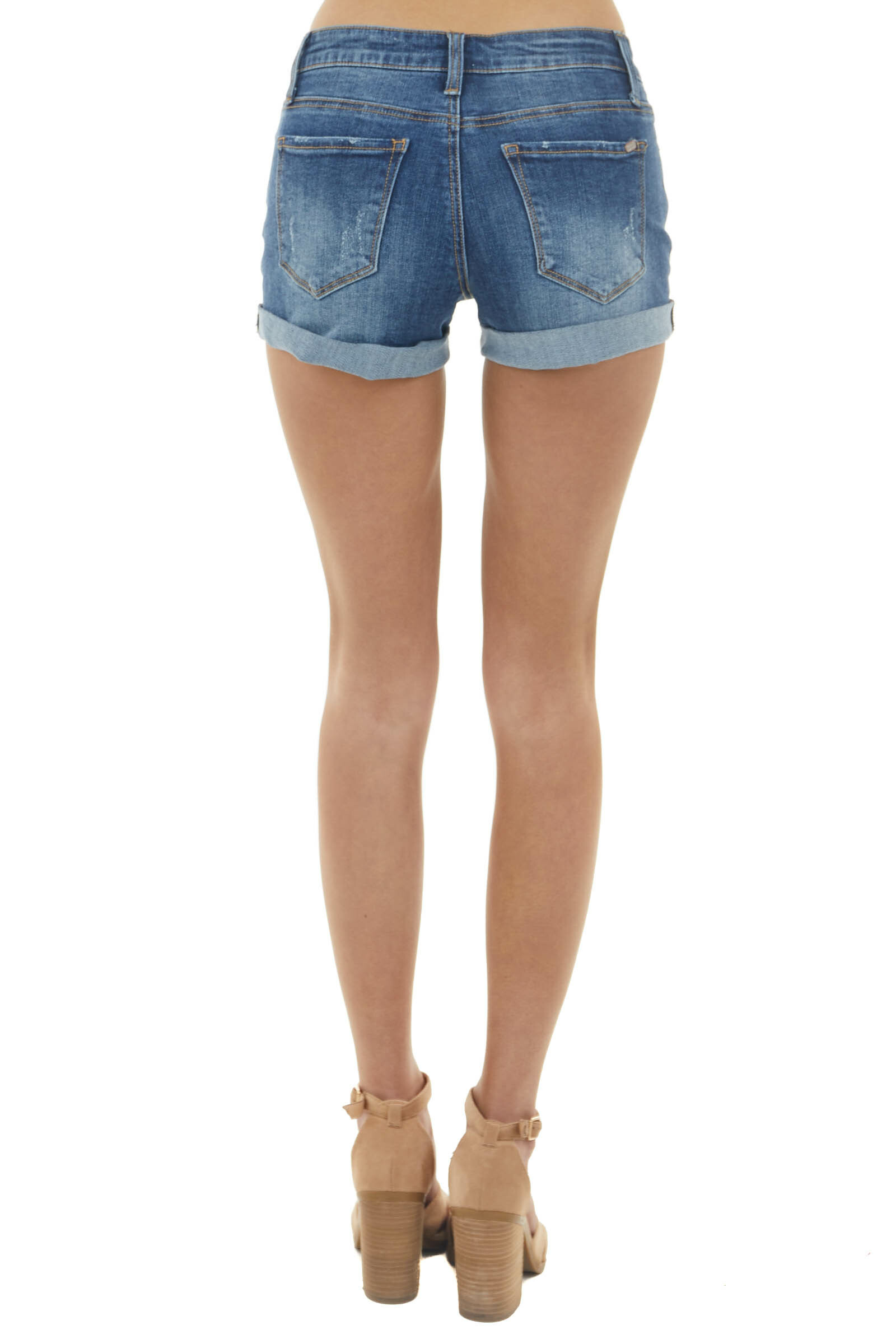 Dark Wash Mid Rise Denim Shorts with Rolled Cuffs