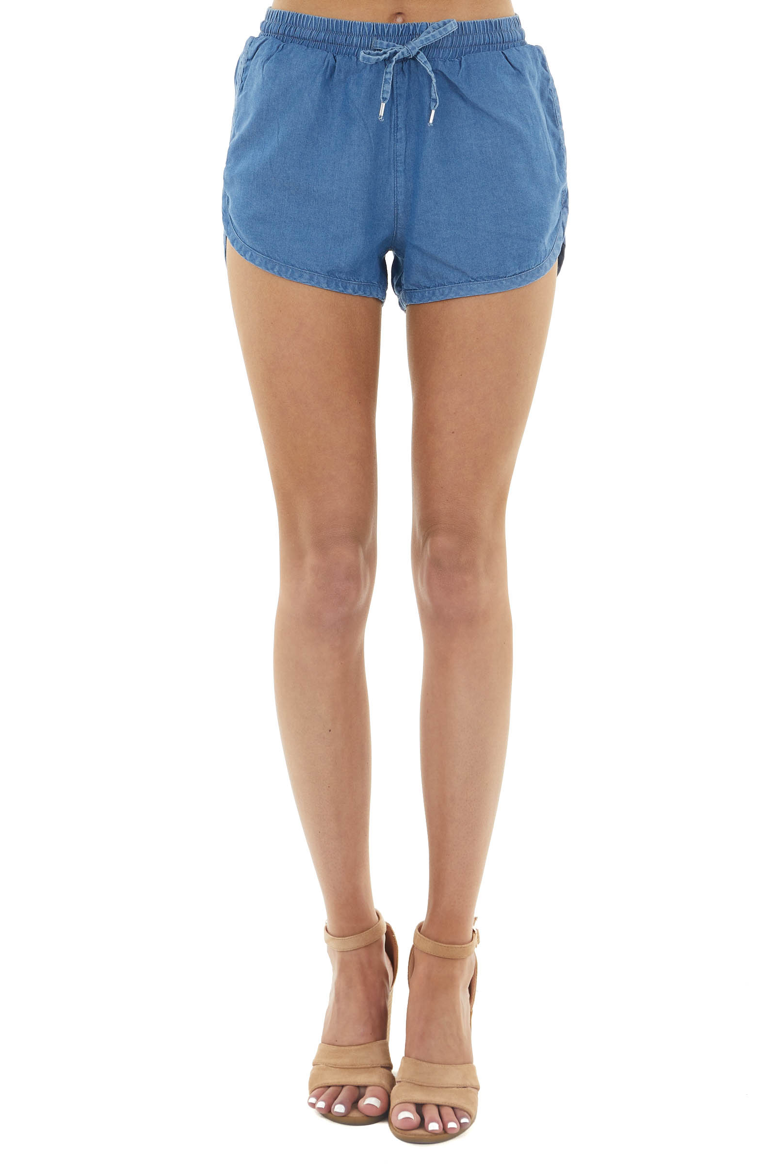 Dusty Blue High Rise Drawstring Shorts with Side Pockets