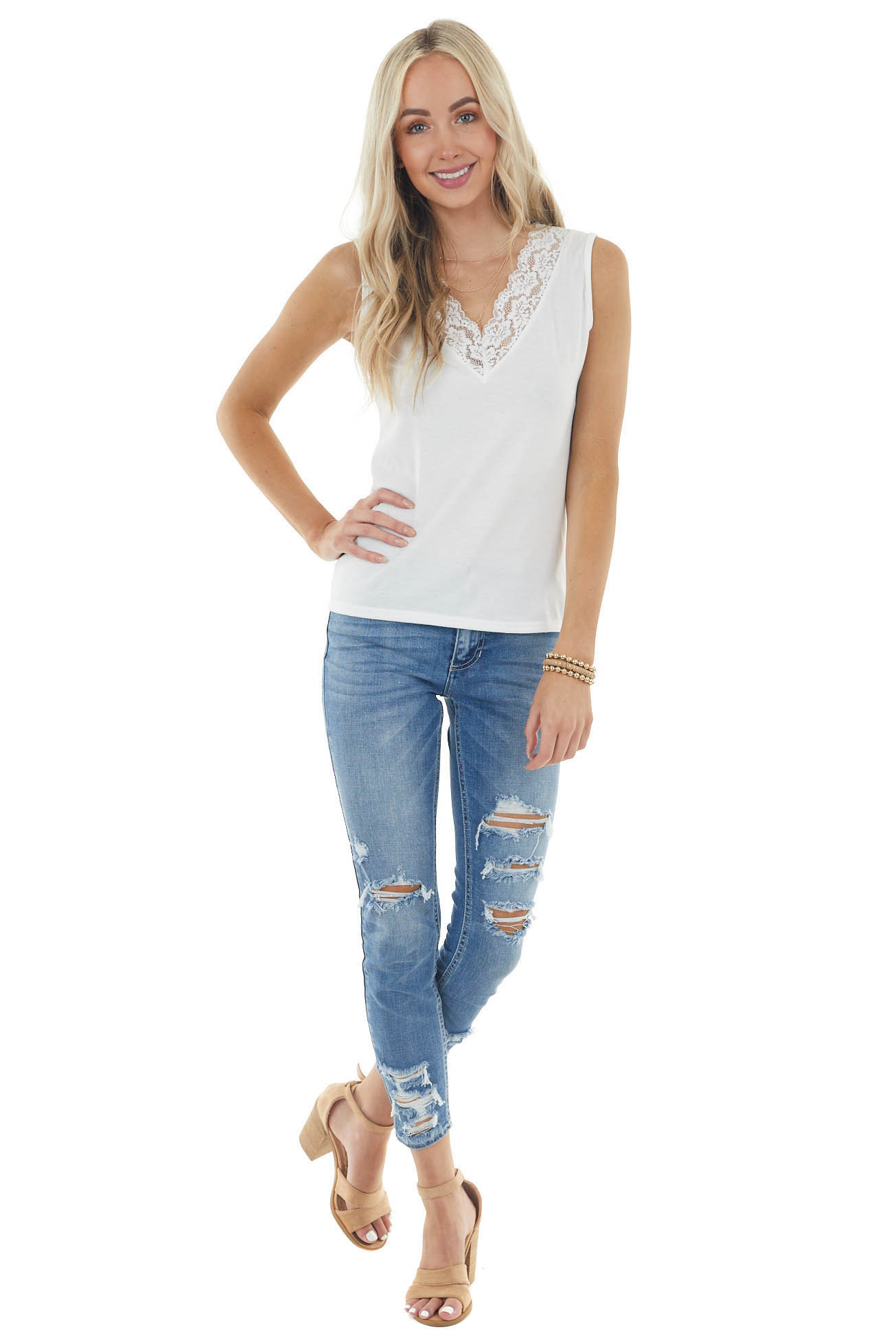 Pearl Sleeveless Stretchy Knit Top with Lace V Neckline