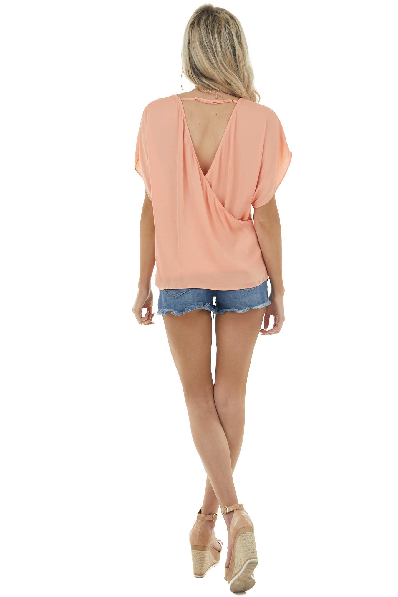 Melon V Neck Short Sleeve Blouse with Surplice Back