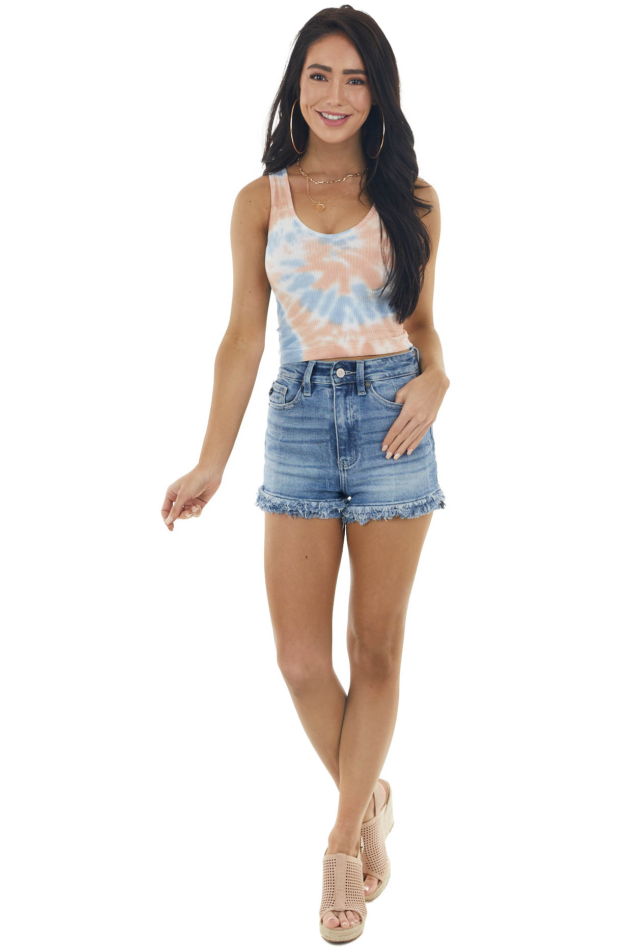 Powder Blue and Melon Tie Dye Ribbed Sleeveless Crop Top