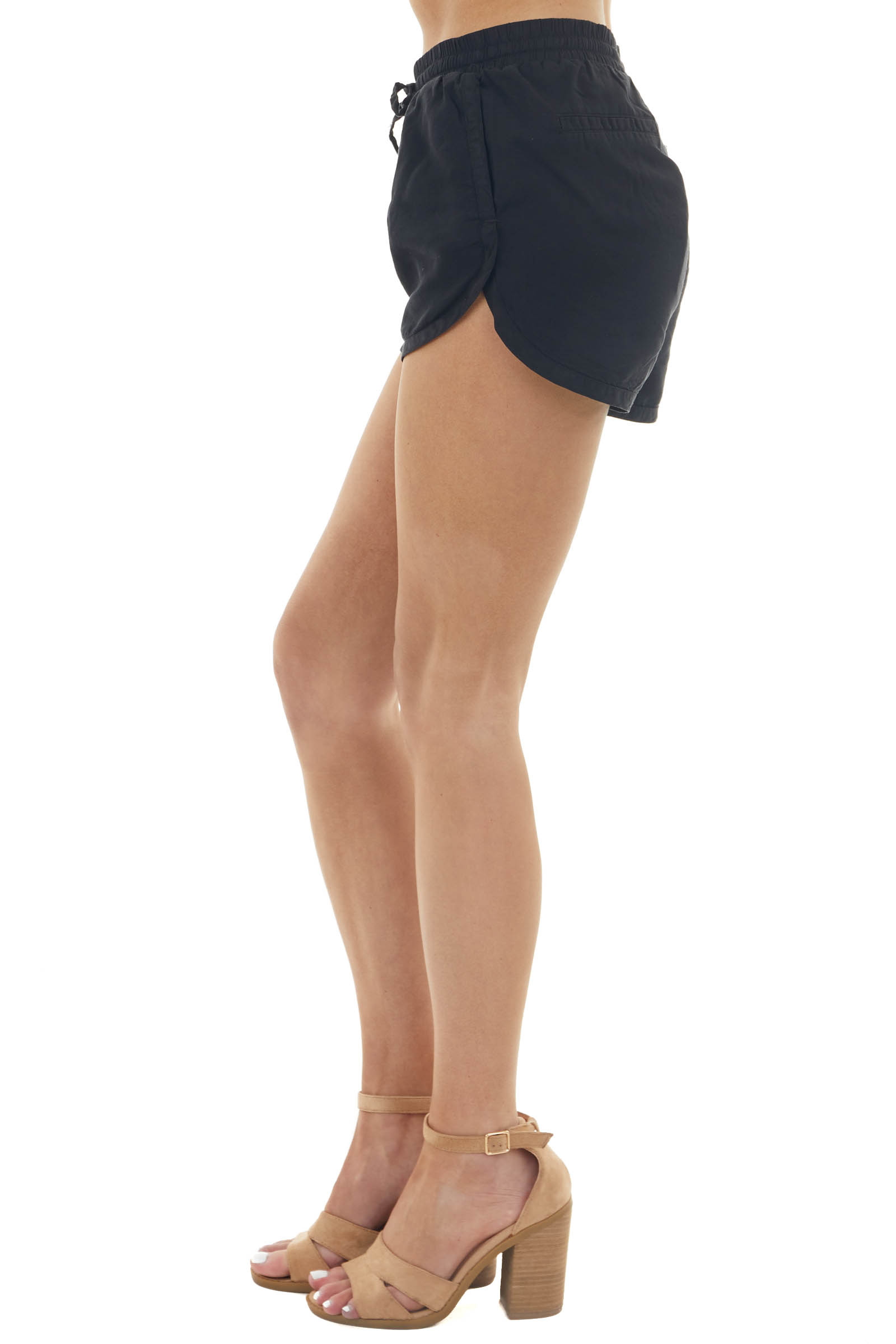 Black High Rise Drawstring Shorts with Side Pockets