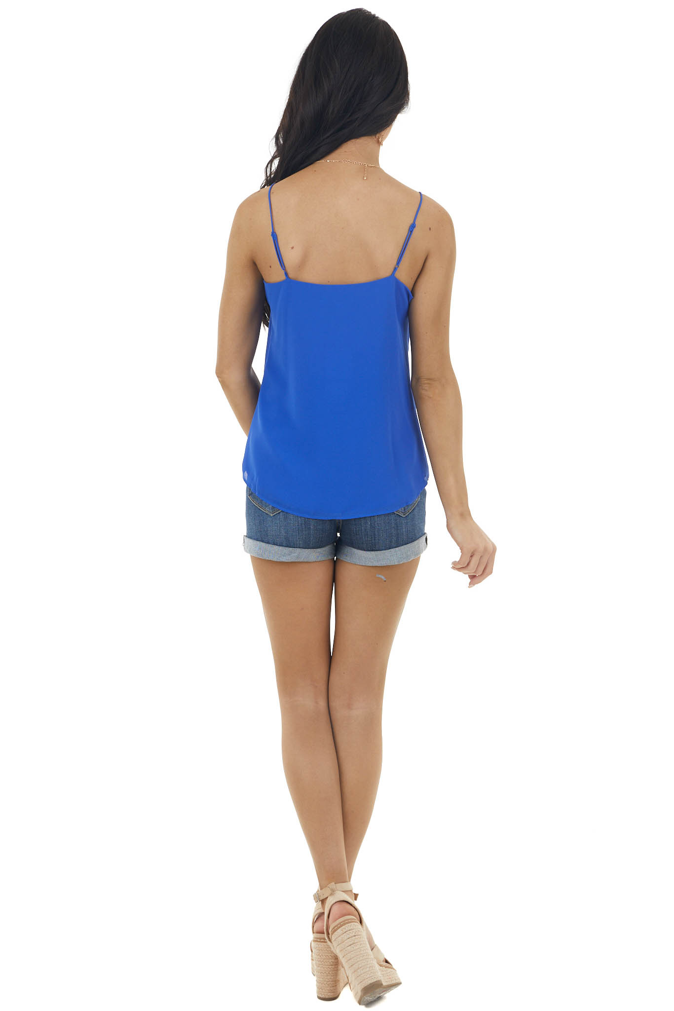 Royal Blue V Neck Sleeveless Button Up Blouse with Front Tie