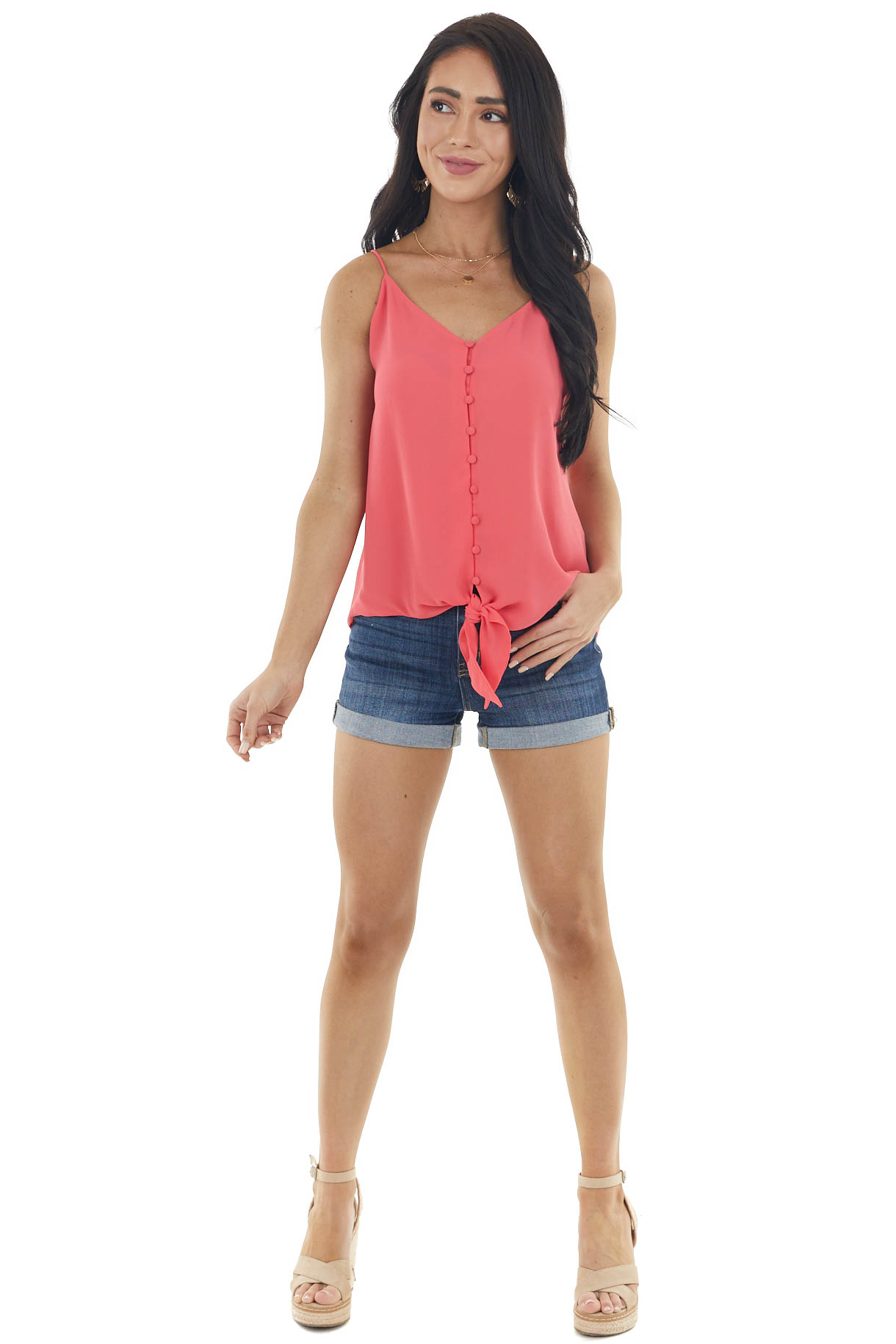 Watermelon V Neck Sleeveless Button Up Blouse with Front Tie
