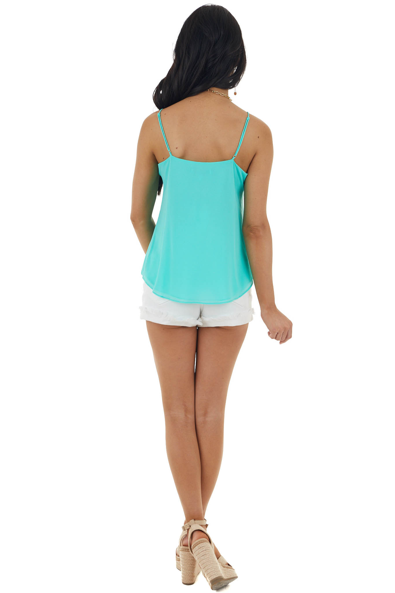 Aquamarine V Neck Sleeveless Button Up Blouse with Front Tie