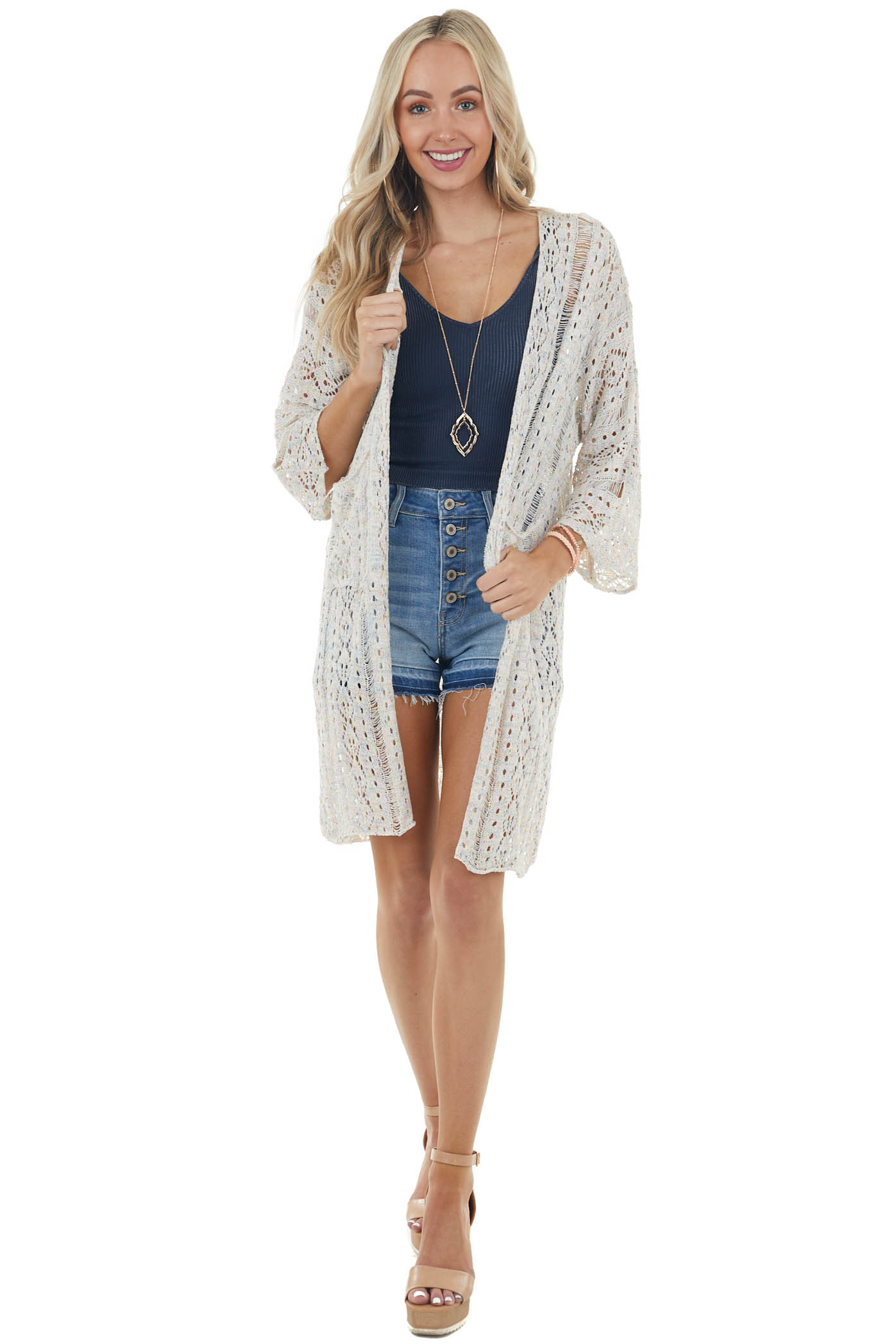Multicolor Open Front Cardigan with Laser Cut Outs