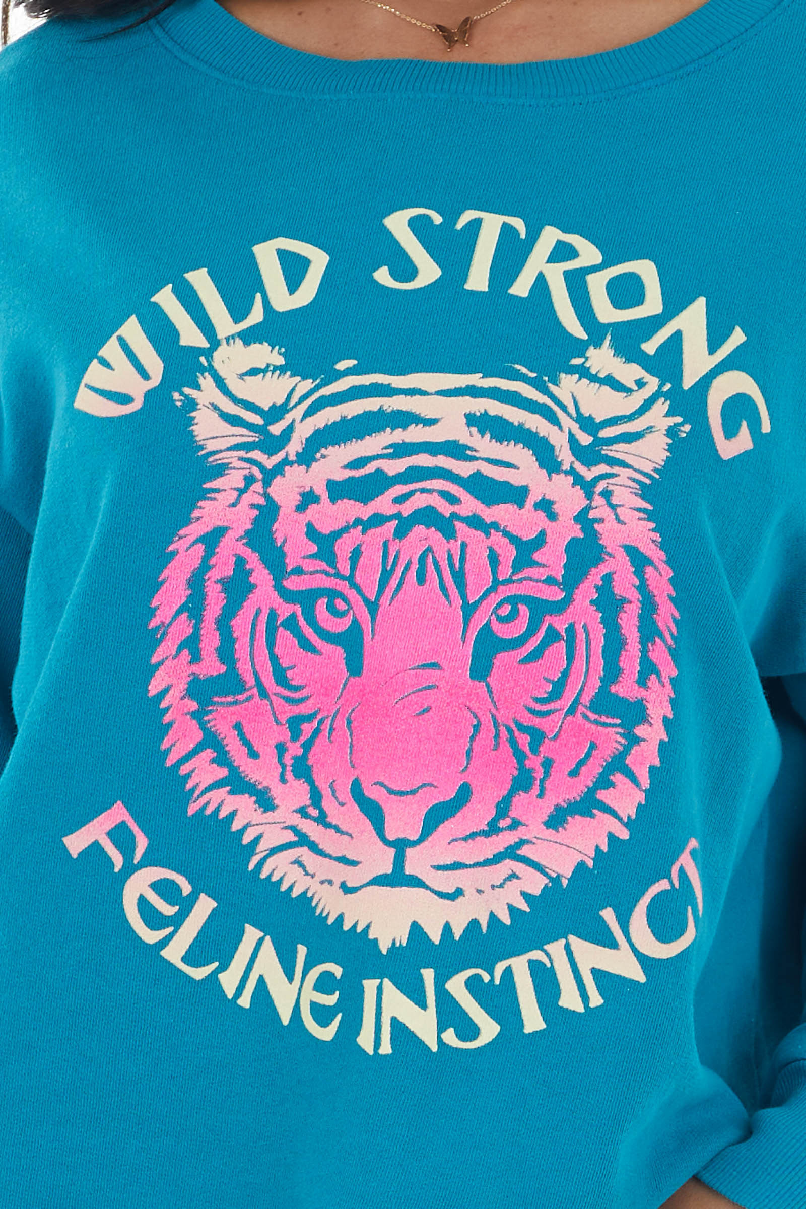 Rich Teal Long Sleeve Sweatshirt with Tiger Graphic