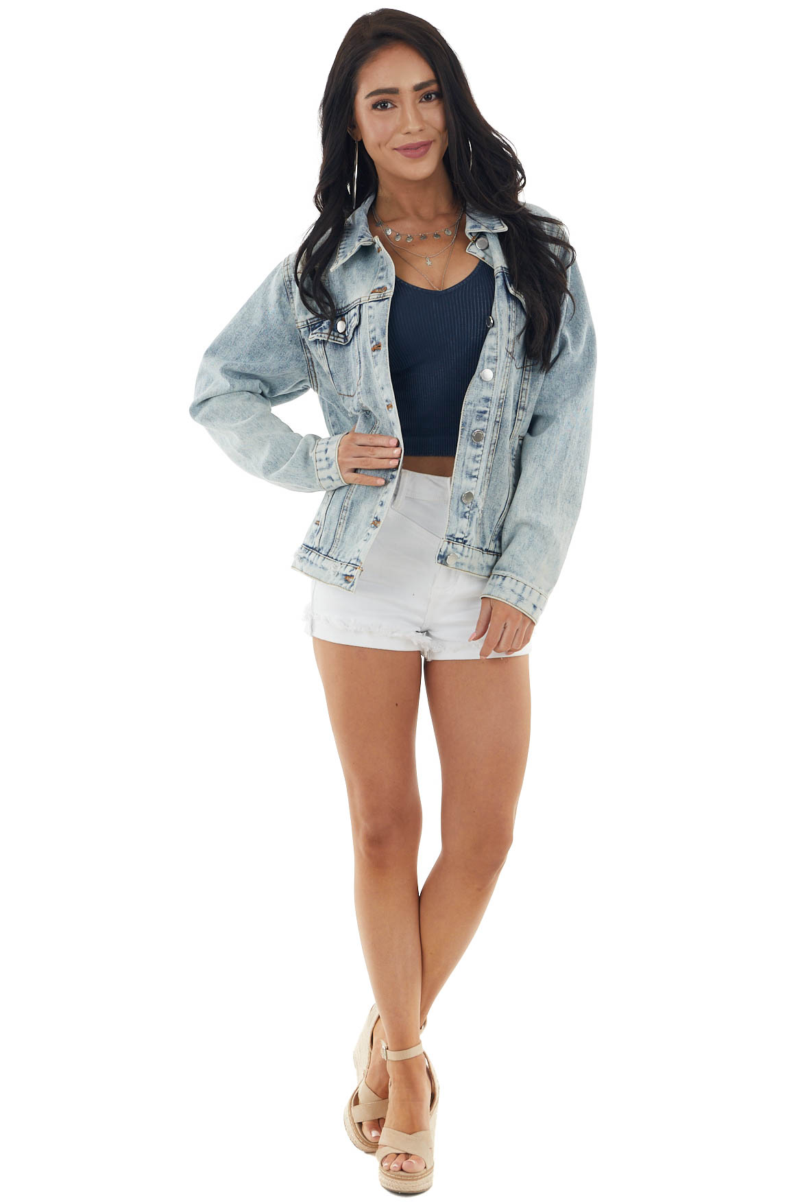 Medium Acid Wash Denim Jacket with Distressed Details