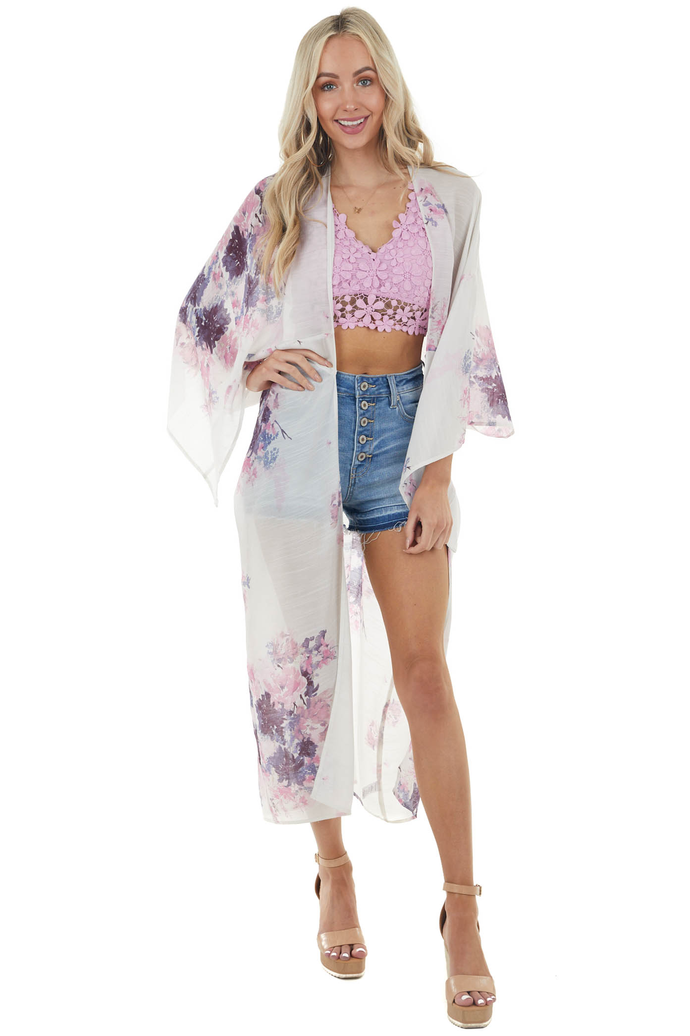 Ivory Large Floral Print Open Front Woven Duster Kimono