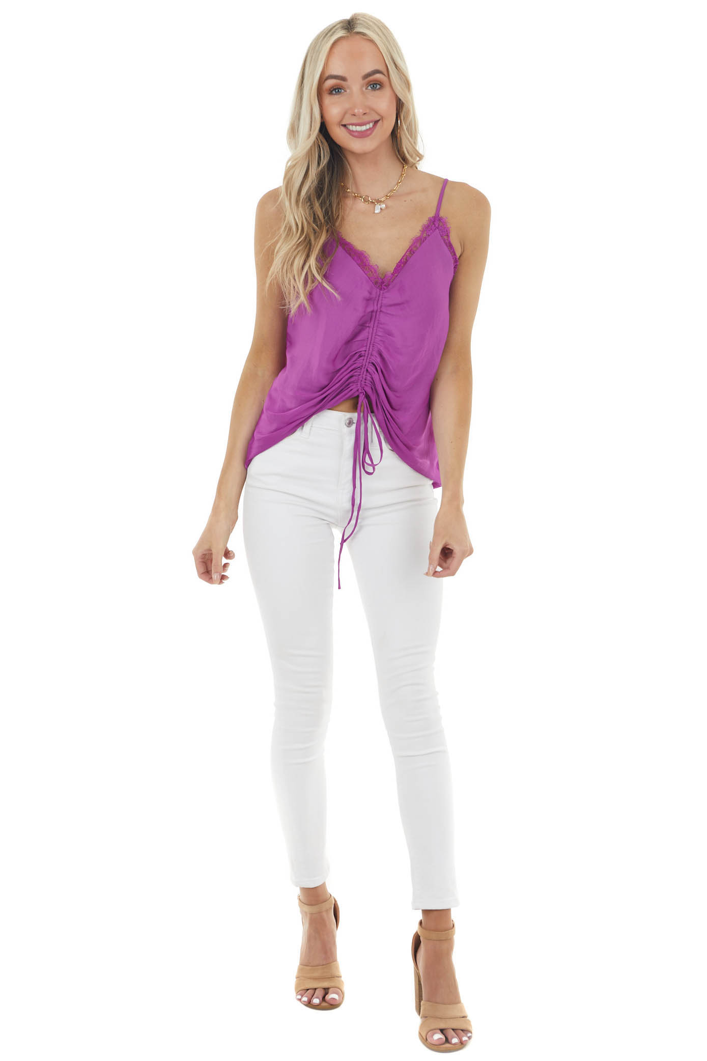 Grape Sleeveless Ruched Camisole Blouse with Lace Neckline
