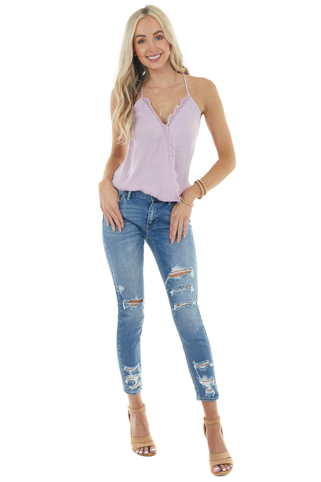 Lilac Sleeveless Surplice Cami Top with Eyelash Lace Detail
