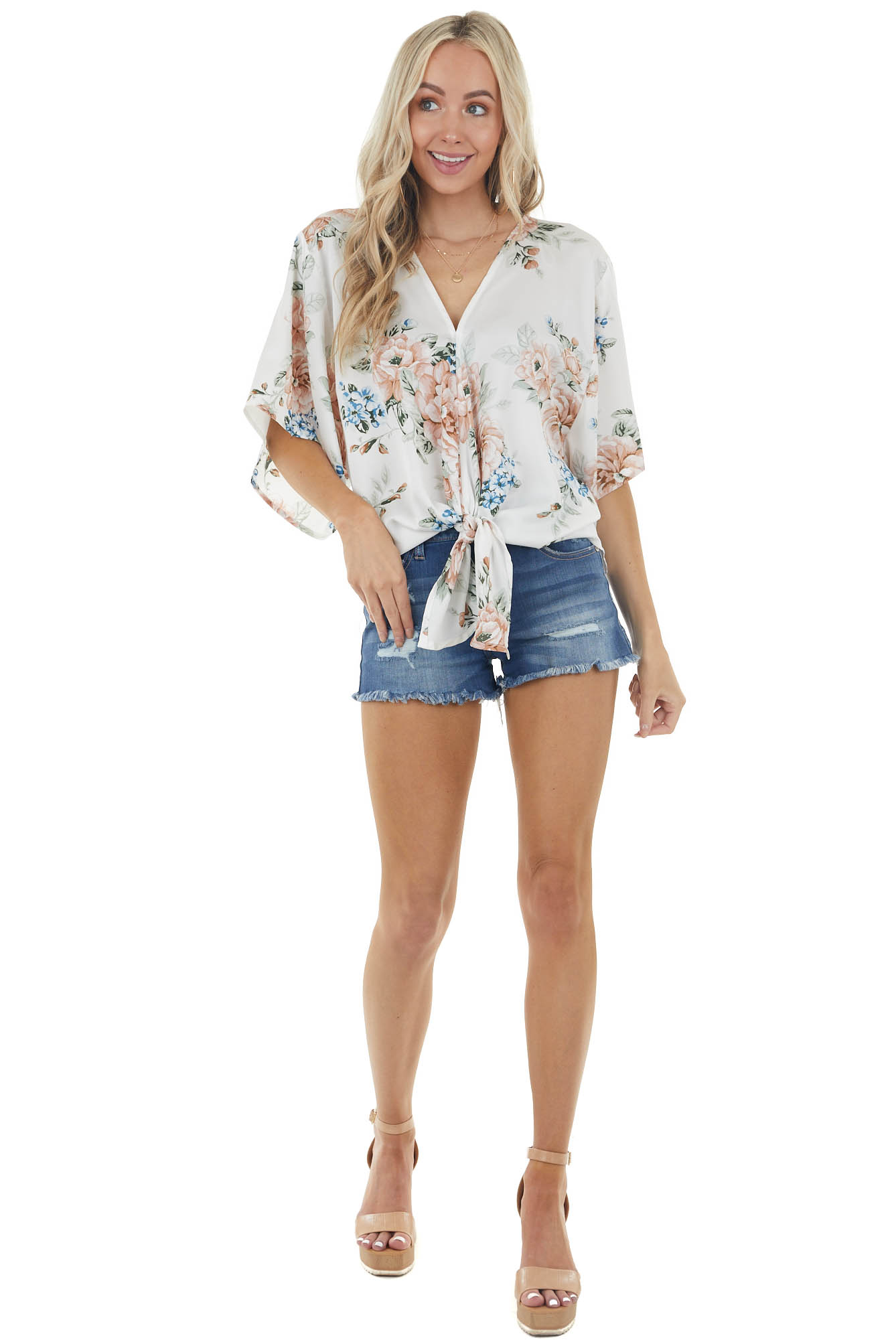 Ivory Floral Print Half Sleeve Blouse with Front Tie